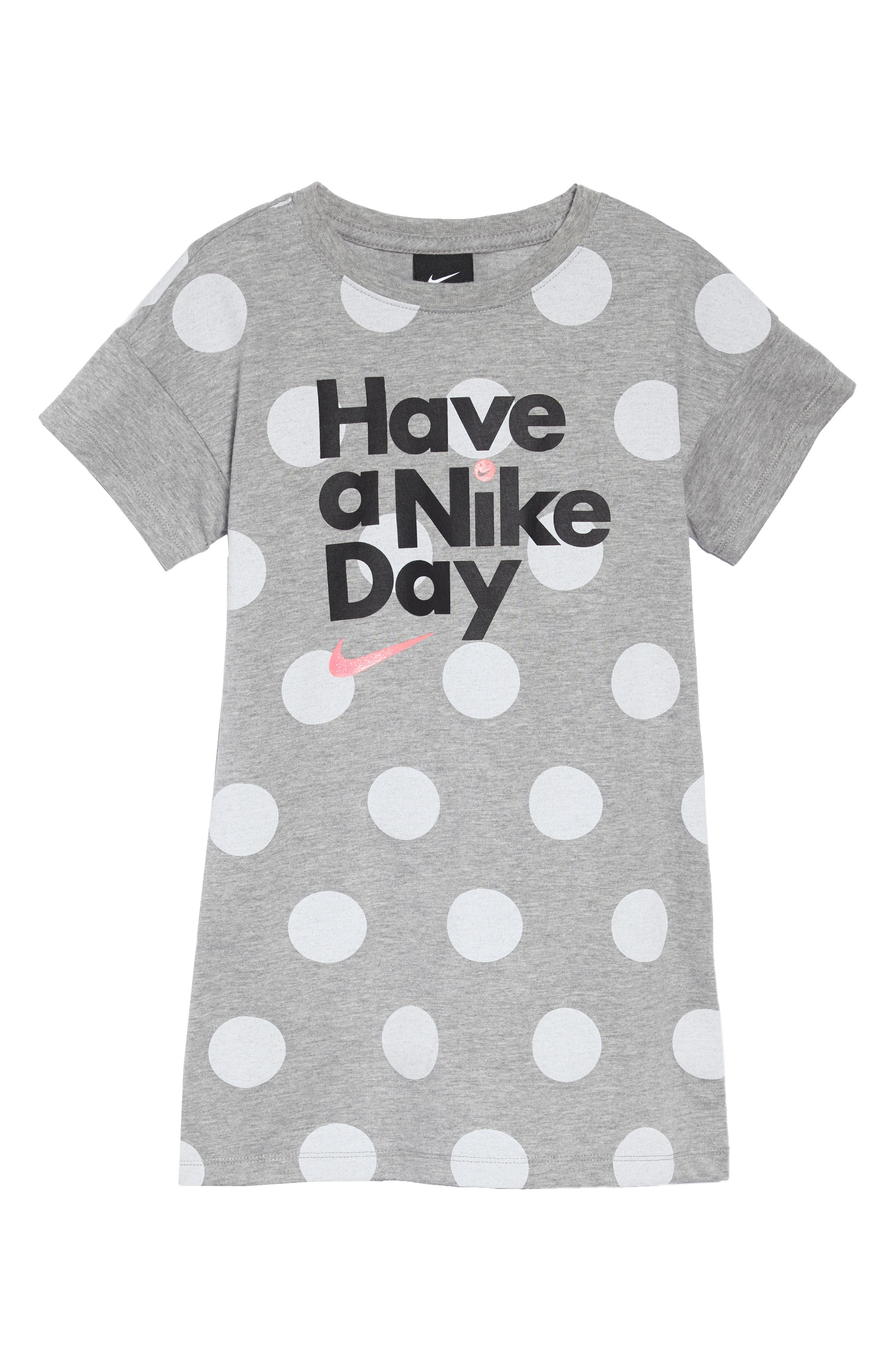 Have a Nike Day T-Shirt Dress,                             Main thumbnail 1, color,                             Dk Grey Heather