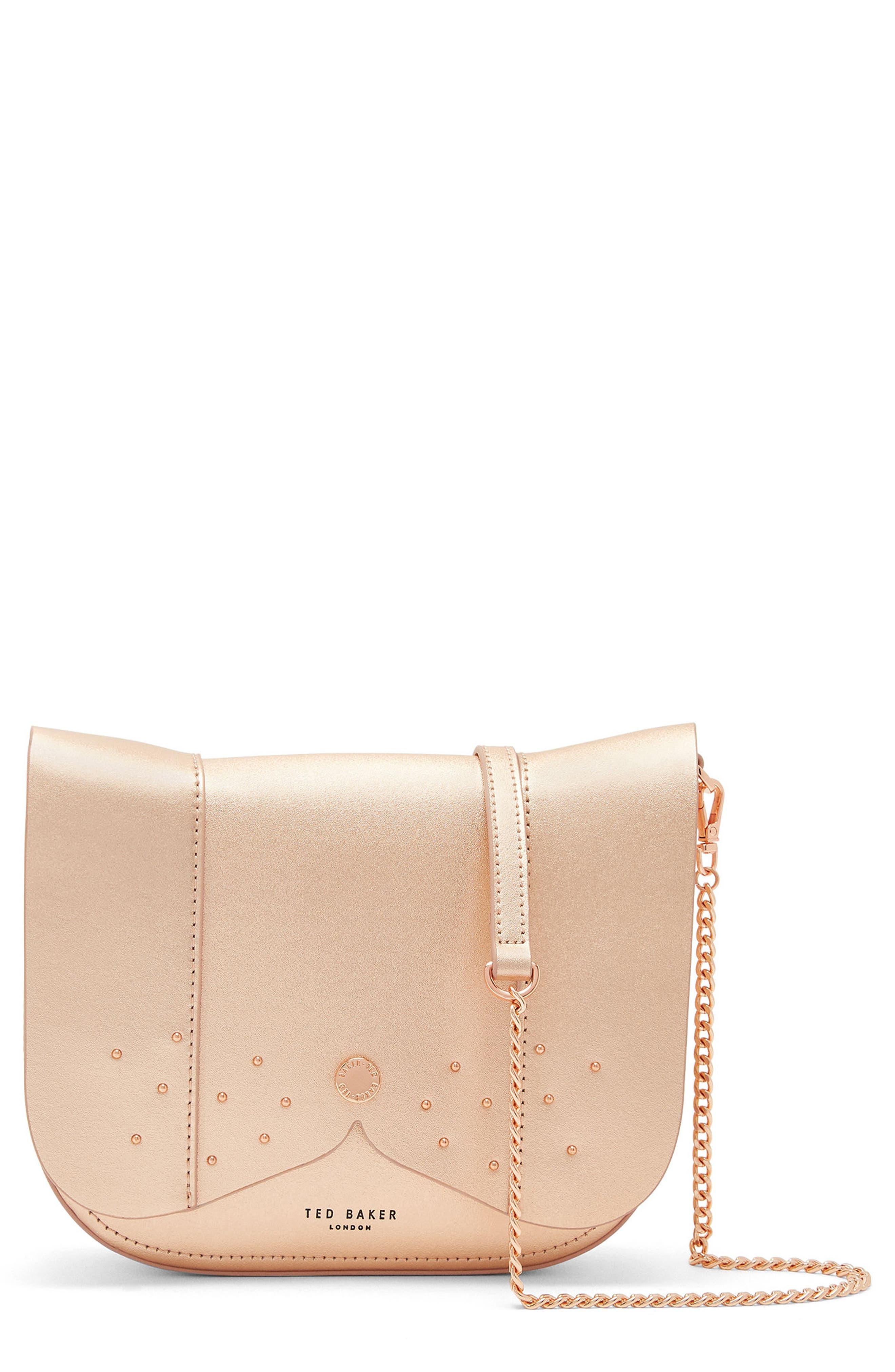 Barkley Dog Leather Crossbody Bag,                             Main thumbnail 1, color,                             Rose Gold