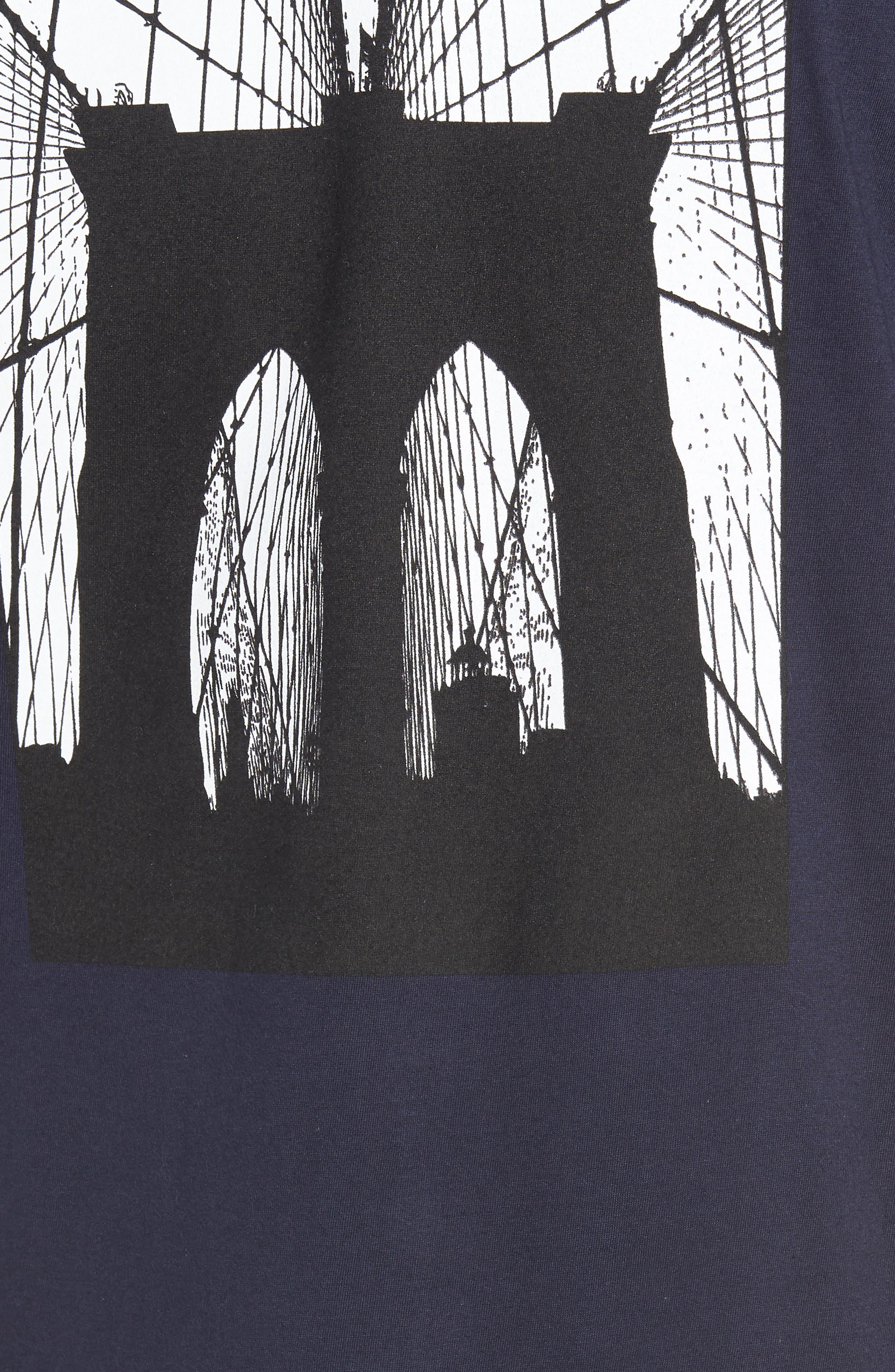 Brooklyn Bridge Graphic T-Shirt,                             Alternate thumbnail 5, color,                             Navy