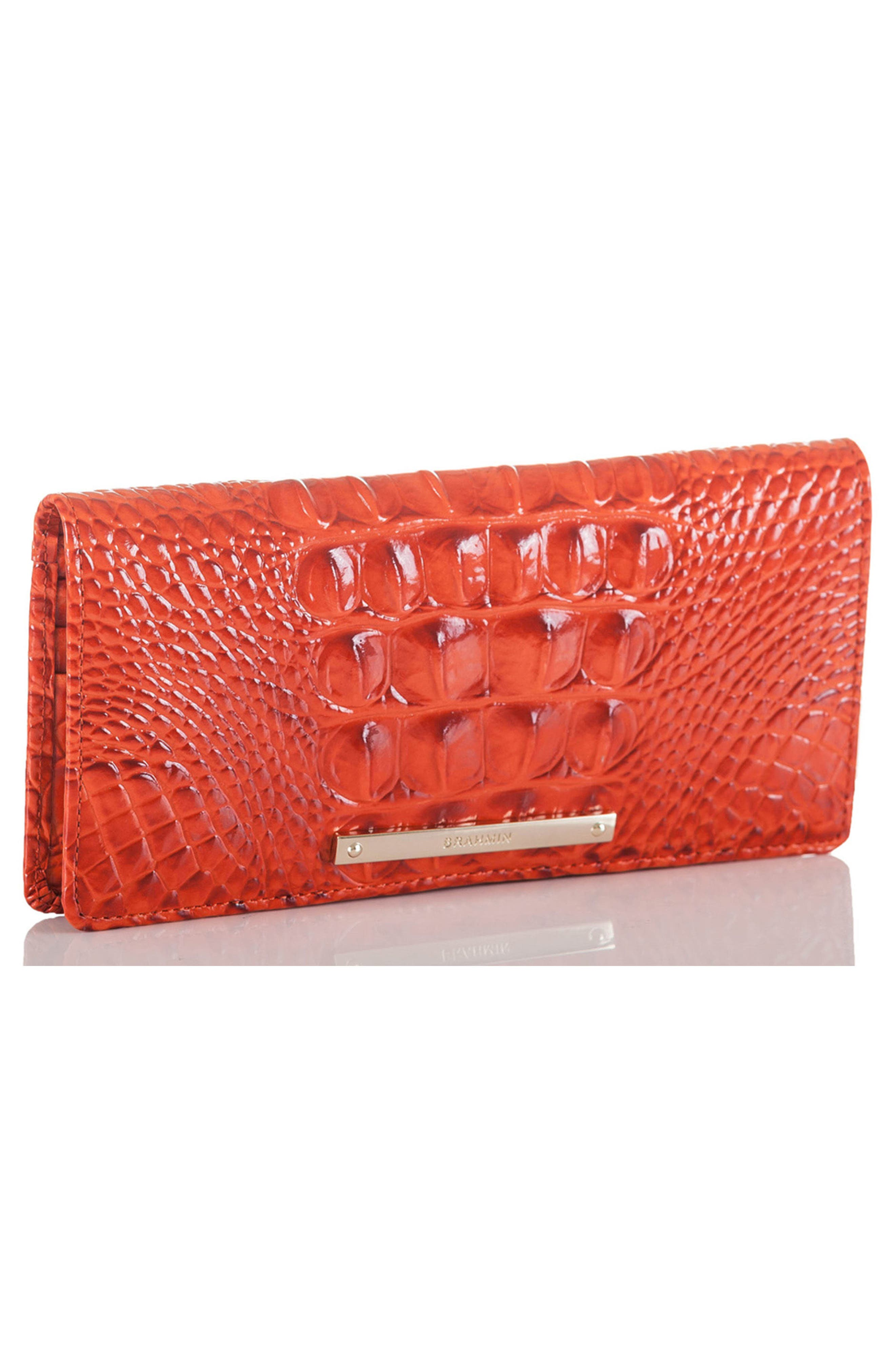 'Ady' Croc Embossed Continental Wallet,                             Alternate thumbnail 4, color,                             Amaryllis