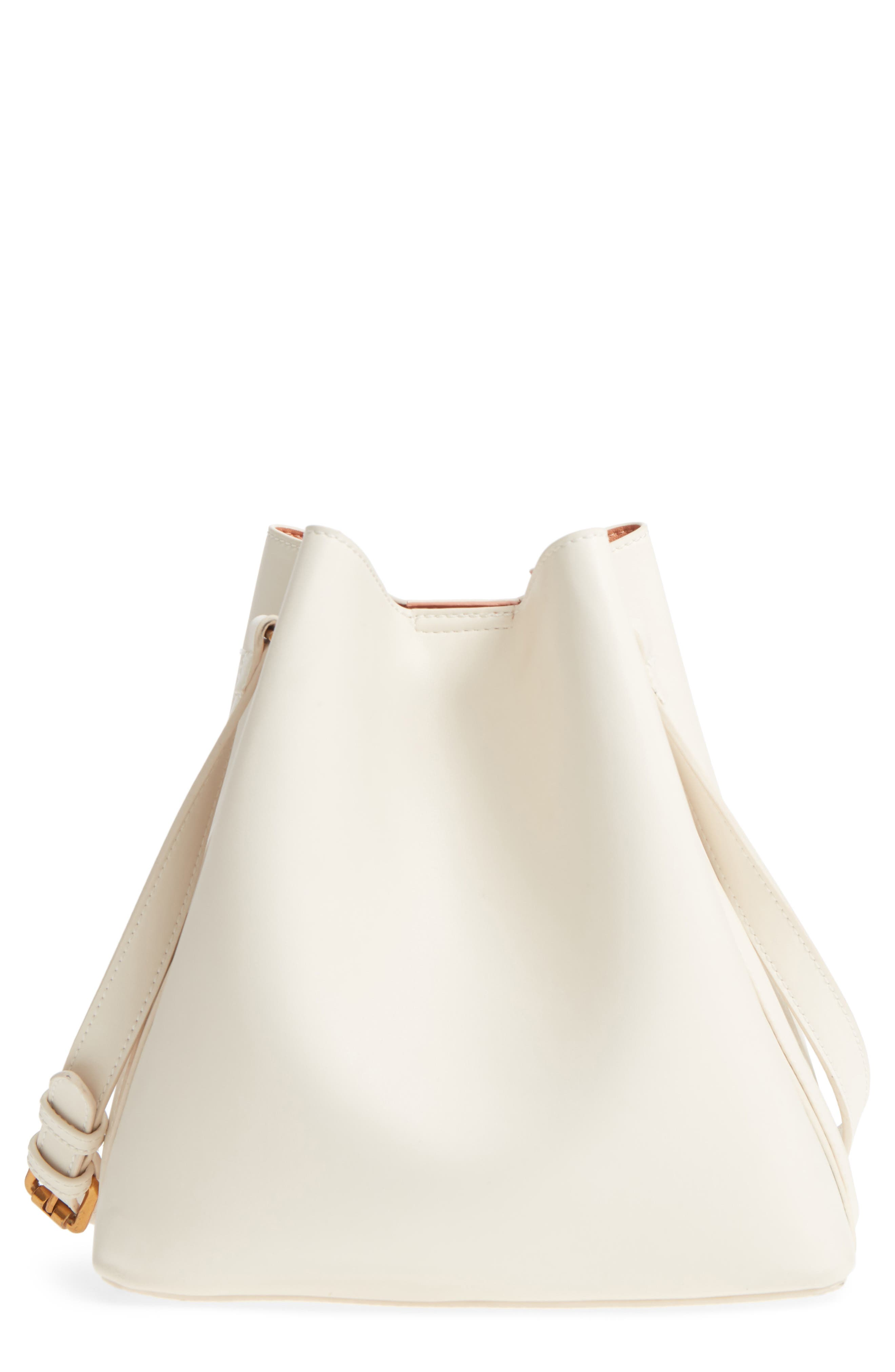 Faux Leather Bucket Tote,                             Main thumbnail 1, color,                             White/ Blush