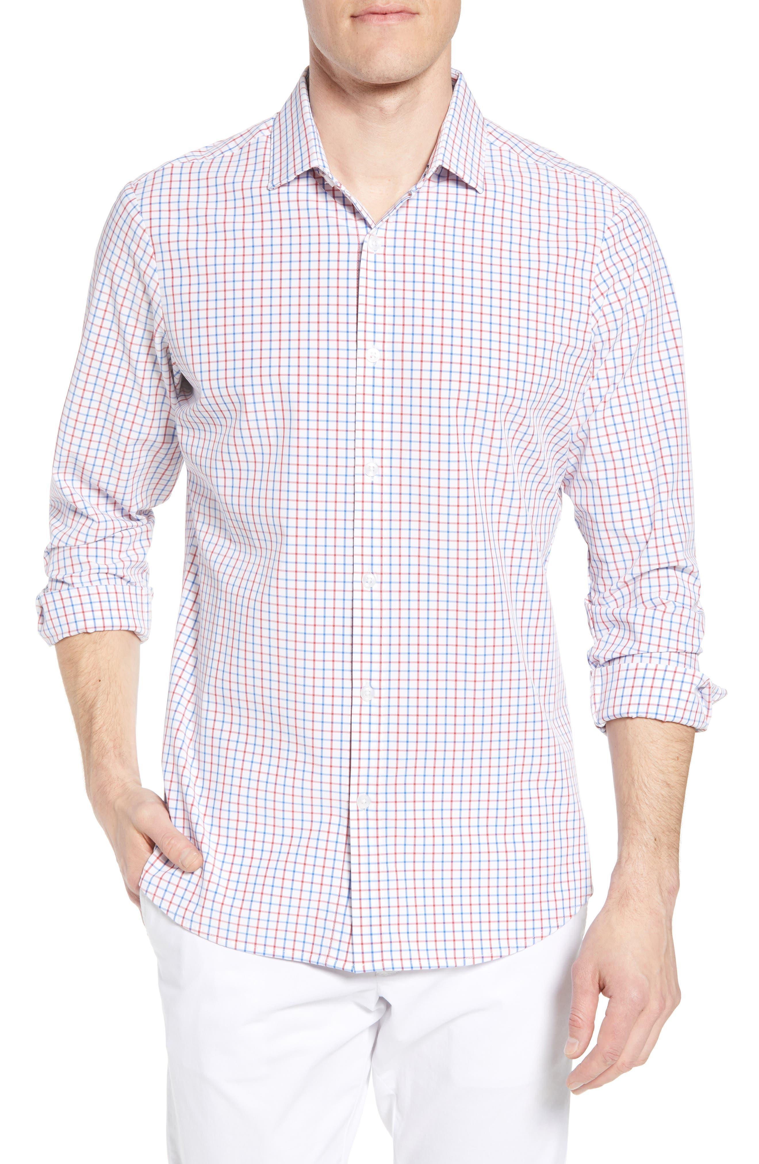 Henry Slim Fit Check Performance Sport Shirt,                         Main,                         color, Multi