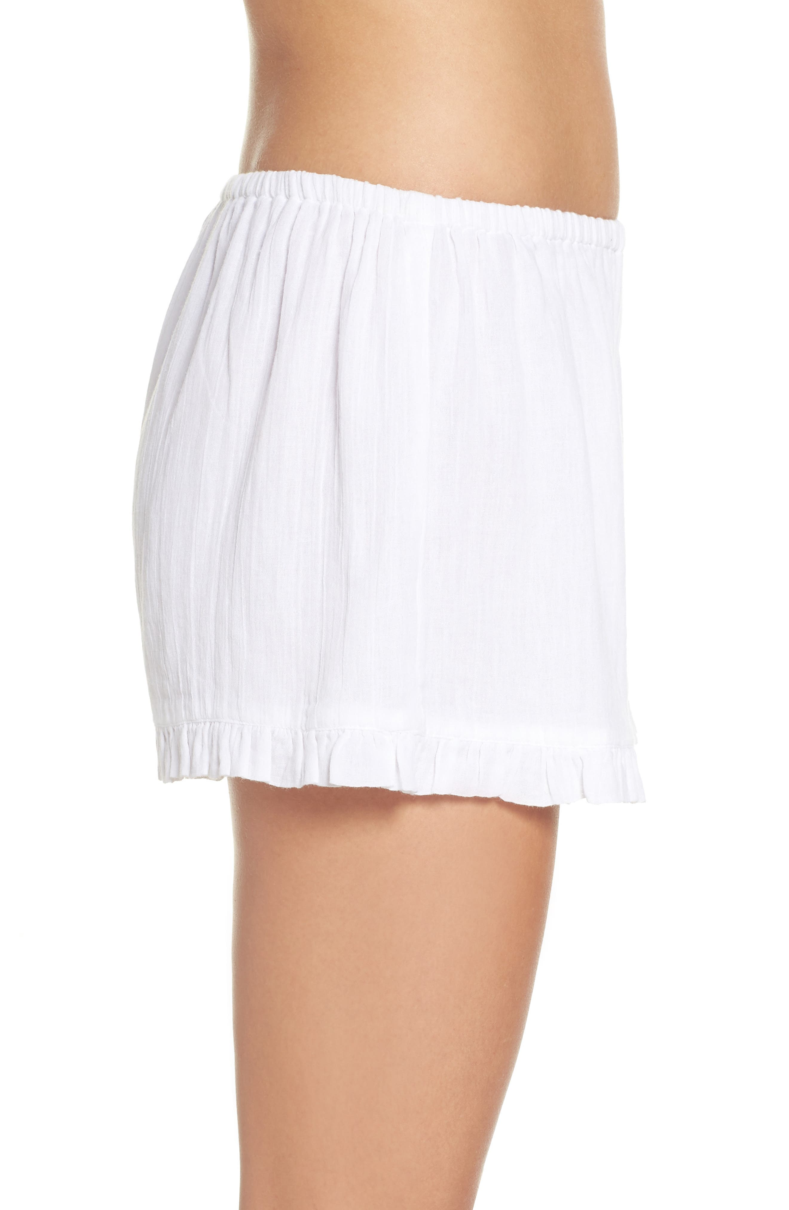 Cambria Ruffle Sleep Shorts,                             Alternate thumbnail 3, color,                             White