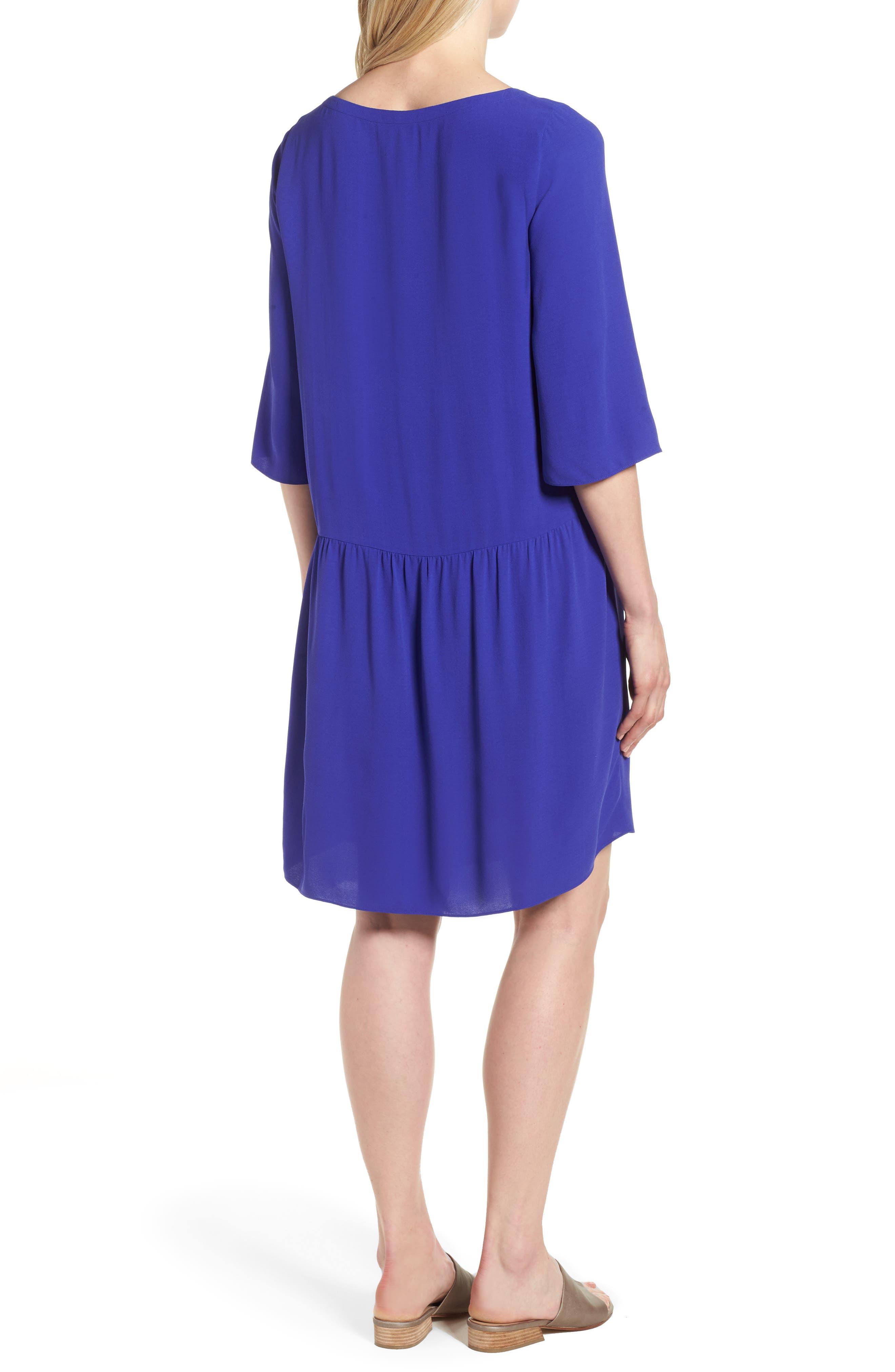 Drop Waist Silk Dress,                             Alternate thumbnail 2, color,                             Blue Violet