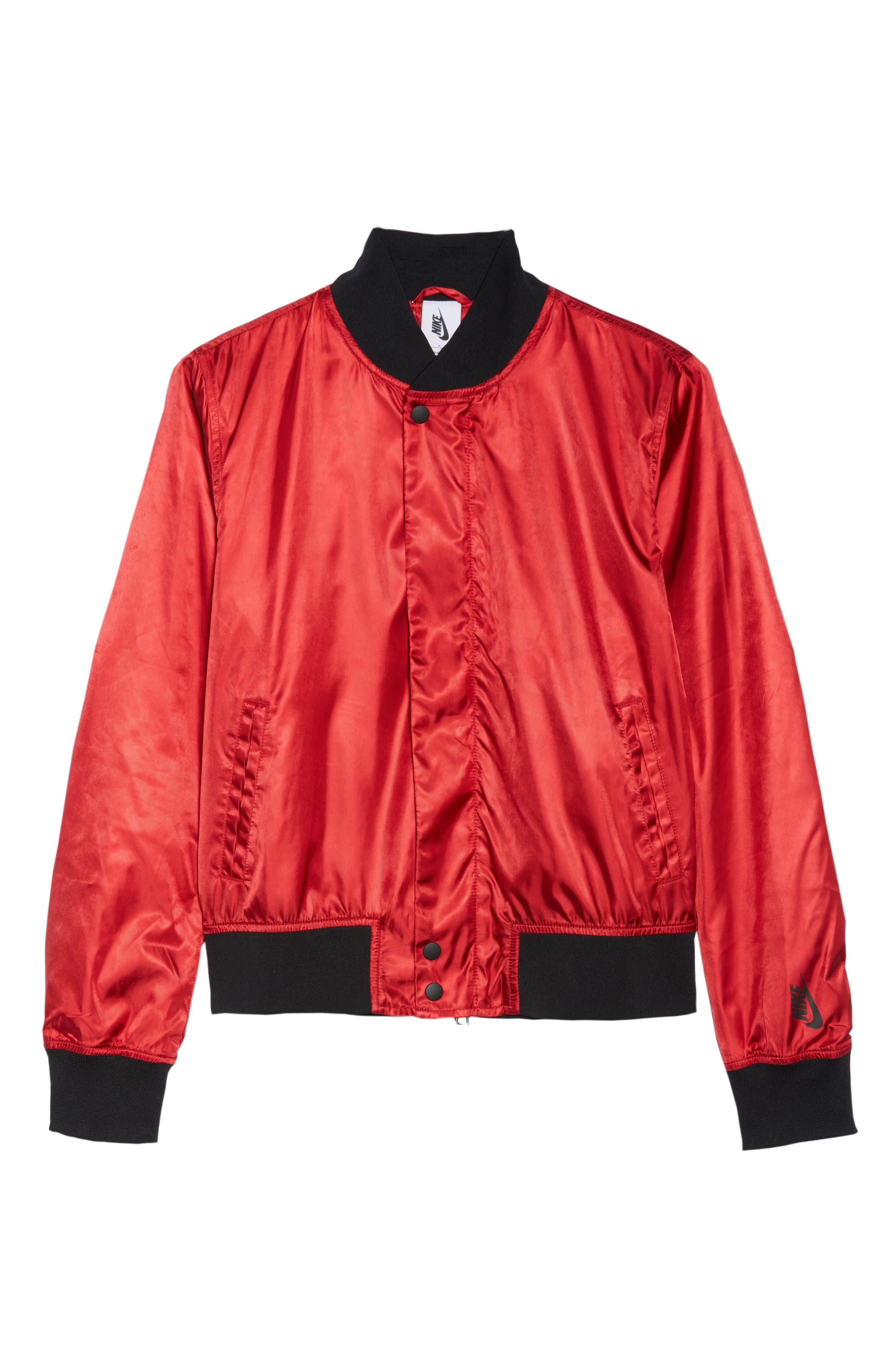 NikeLab Collection Women's Satin Bomber Jacket,                             Alternate thumbnail 6, color,                             Gym Red/ Black