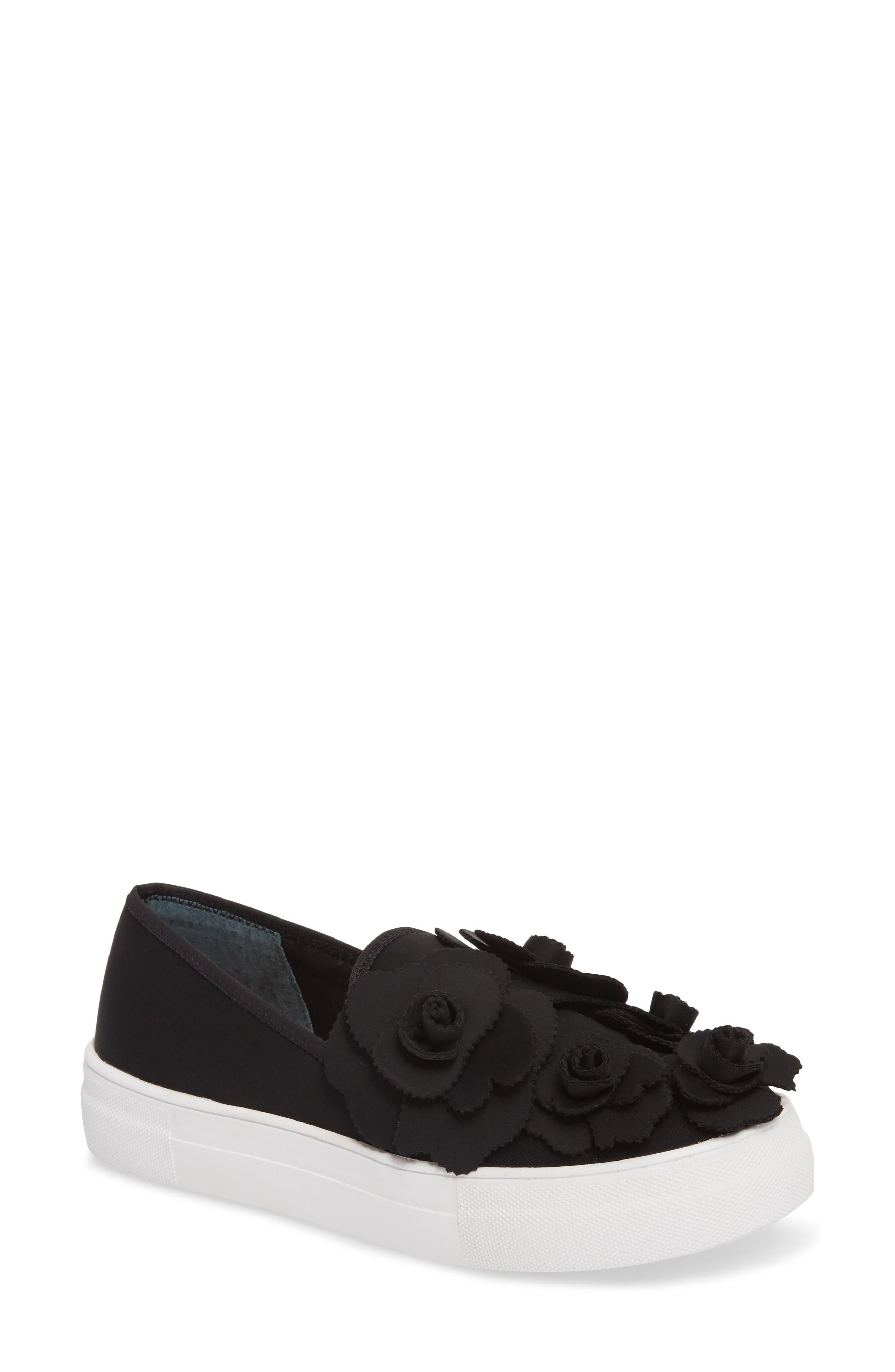 Alden Floral Embellished Slip-On Sneaker,                             Main thumbnail 1, color,                             Black Flower Neoprene