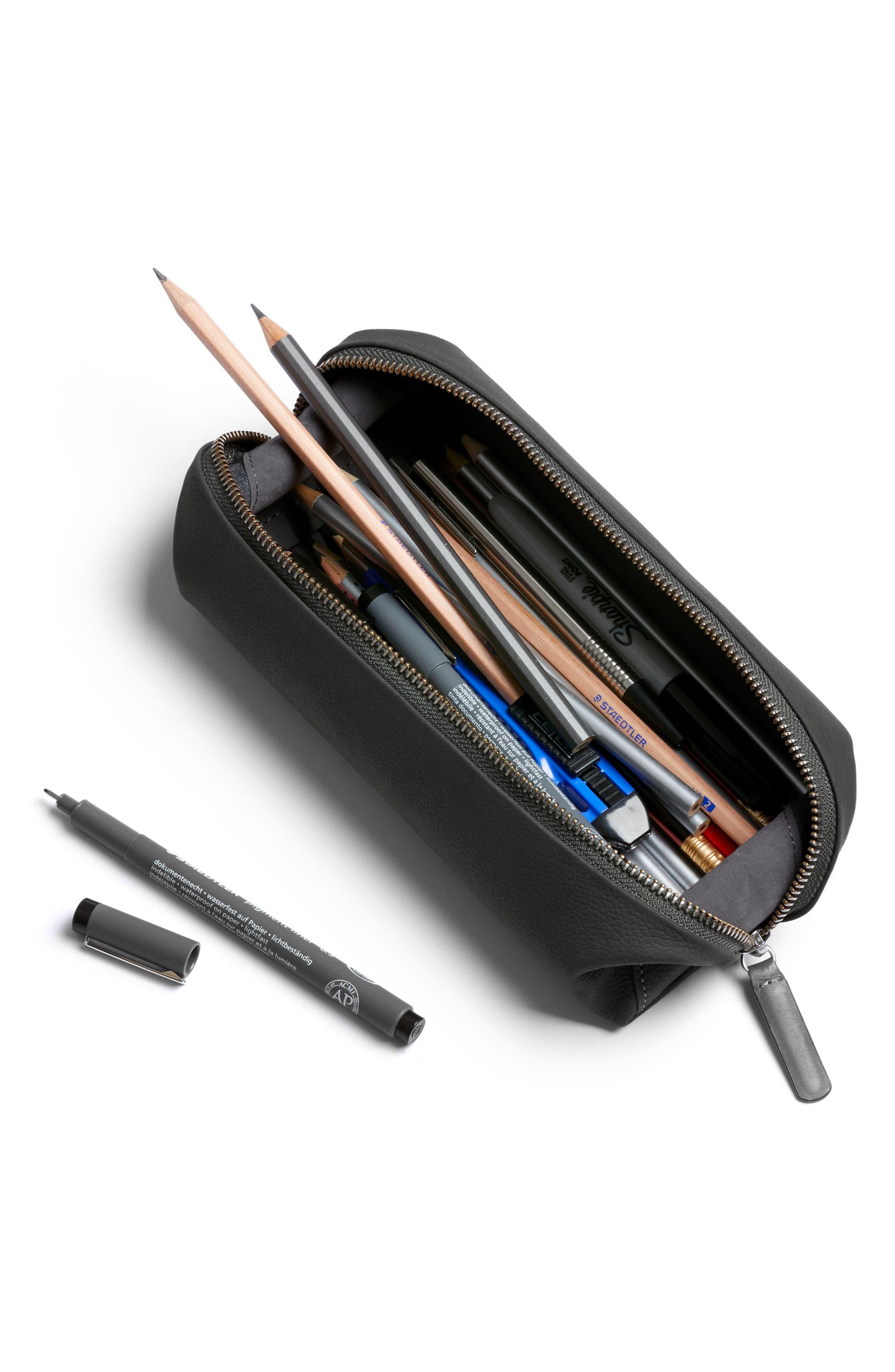 Leather Pencil Case Plus,                             Alternate thumbnail 3, color,                             Charcoal
