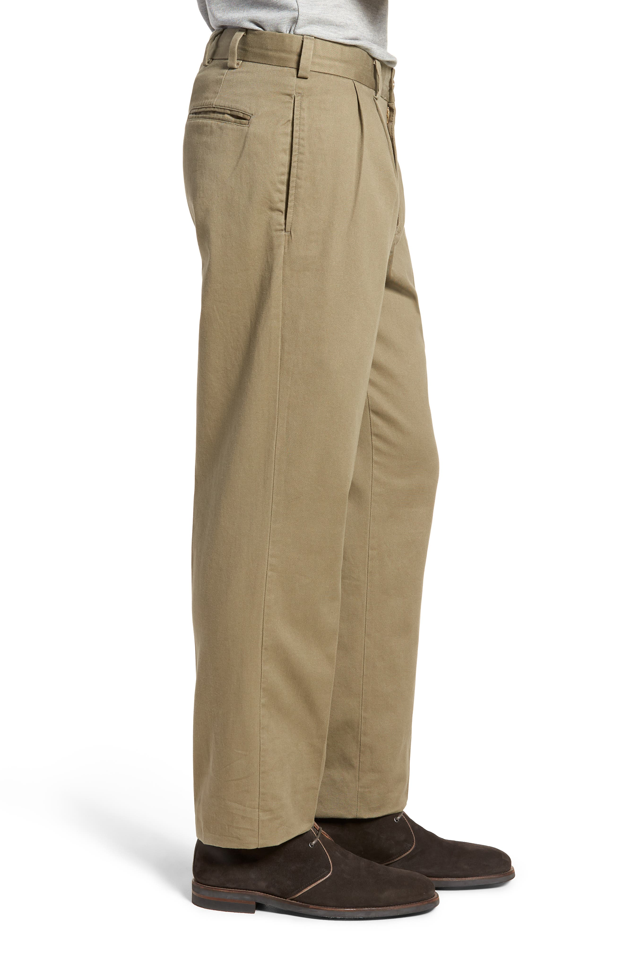 M2 Classic Fit Vintage Twill Pleated Pants,                             Alternate thumbnail 3, color,                             Olive