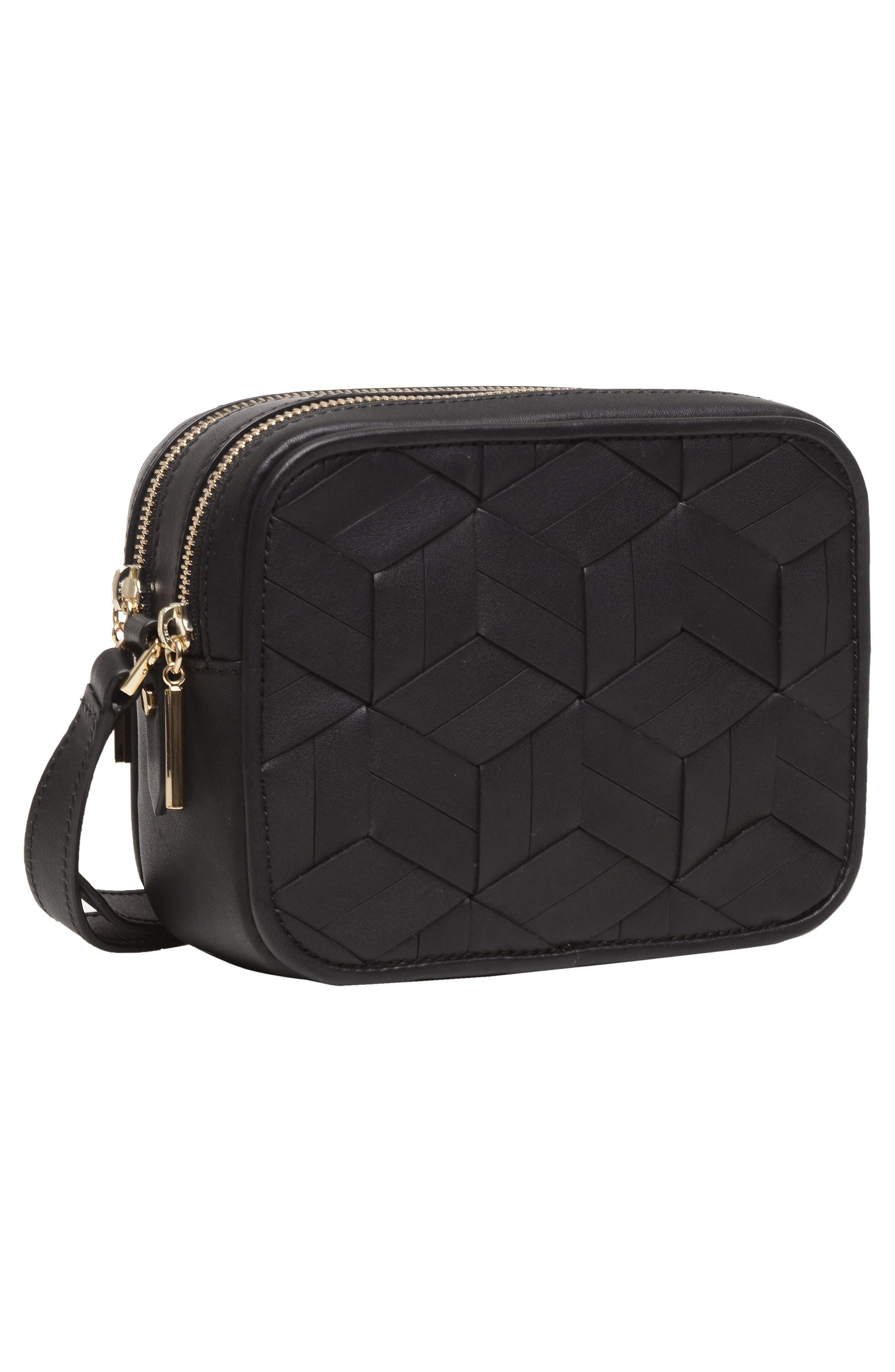 Explorer Woven Leather Camera Bag,                             Alternate thumbnail 4, color,                             Black