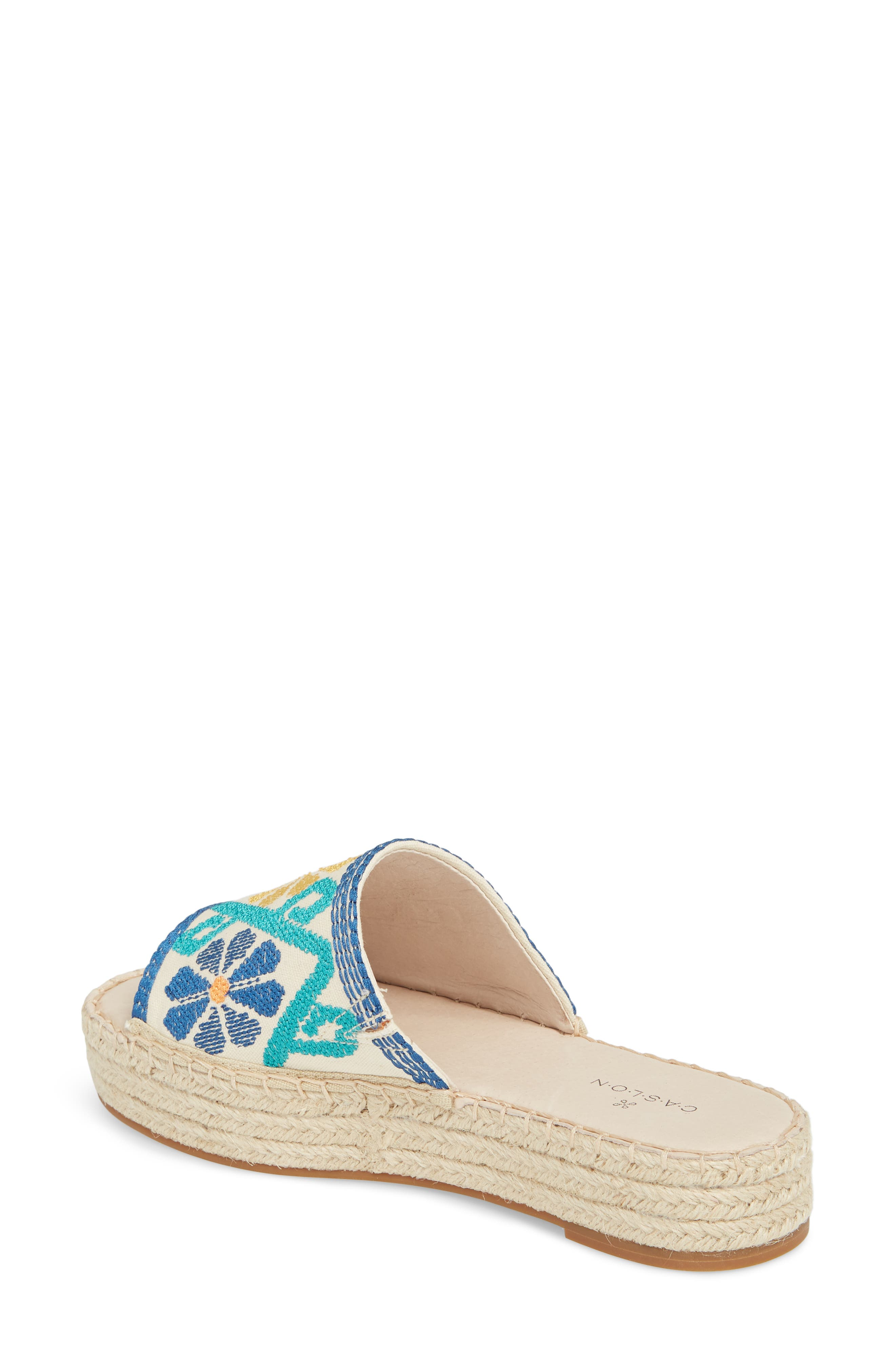 Cammy Platform Slide Sandal,                             Alternate thumbnail 2, color,                             Natural Embroidery Fabric