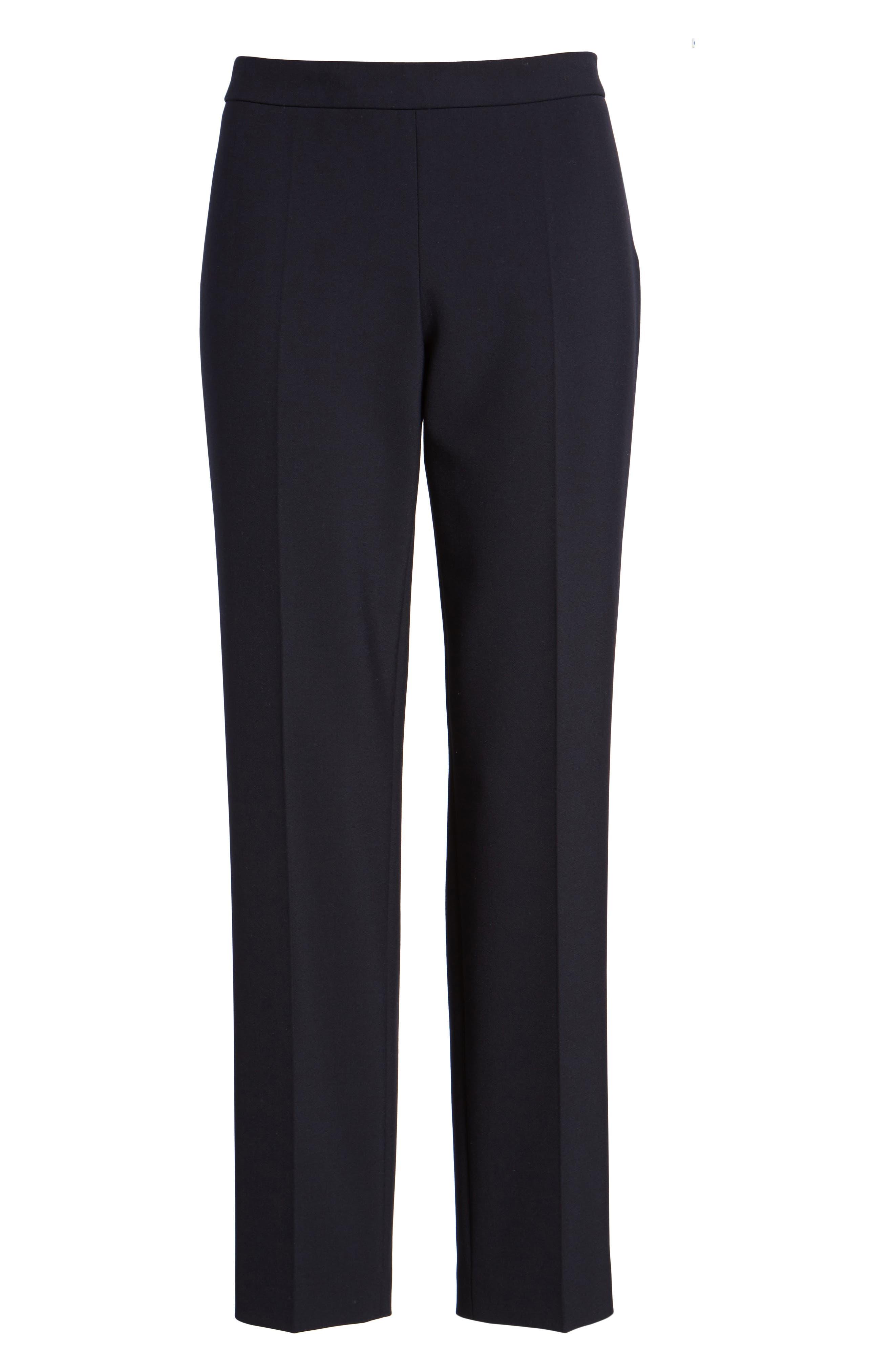 Tiluna Side Zip Ponte Trousers,                             Alternate thumbnail 6, color,                             Navy