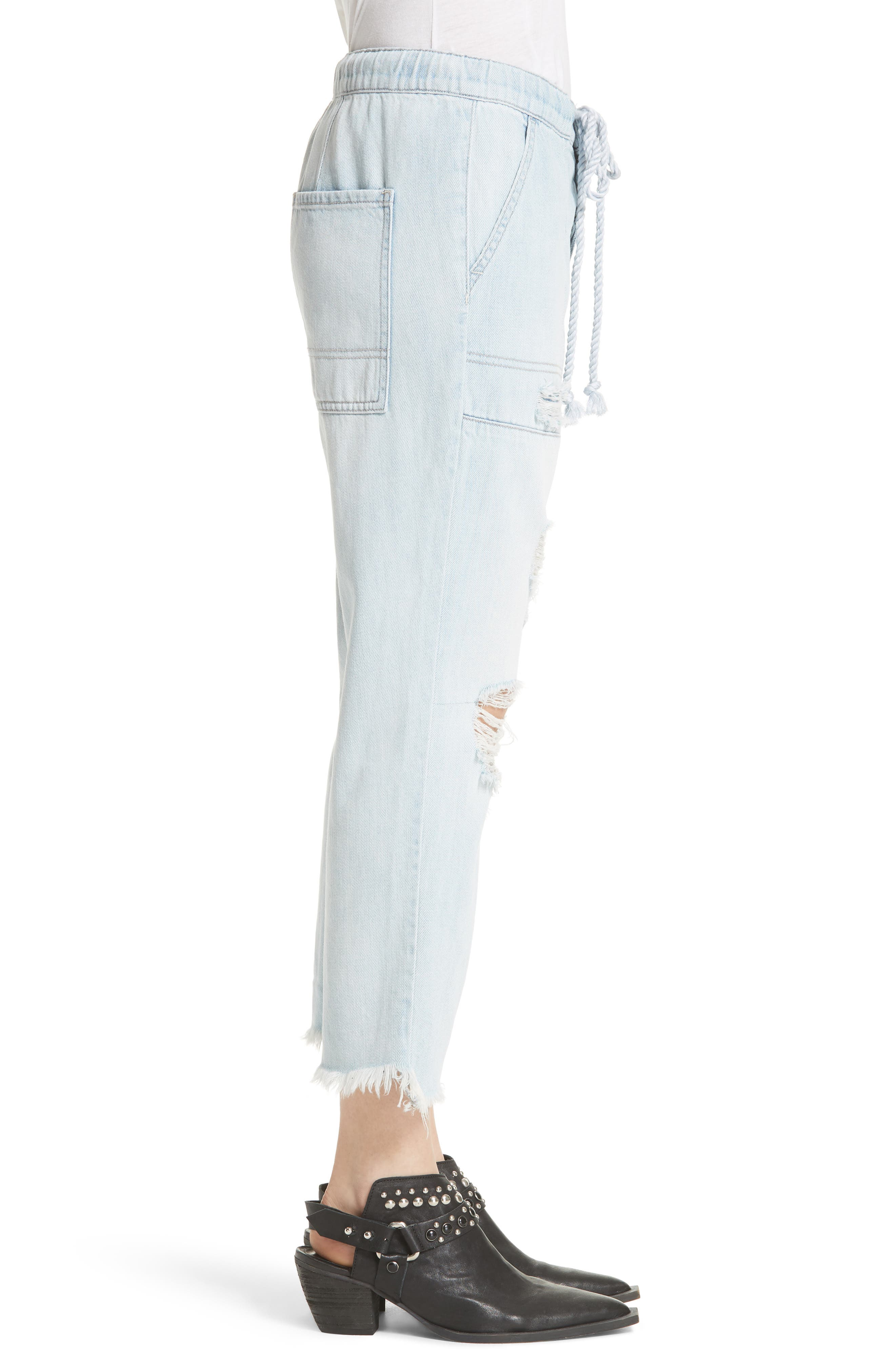 Northern Sky Ripped Crop Jeans,                             Alternate thumbnail 3, color,                             Blue