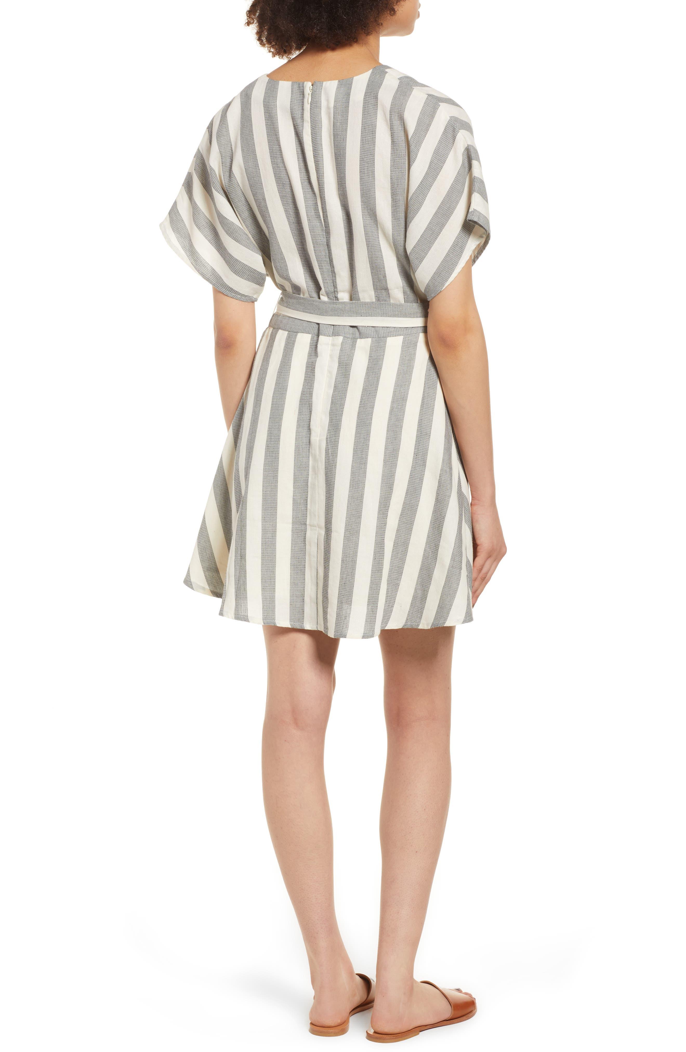 Stripe Cotton Wrap Dress,                             Alternate thumbnail 3, color,                             Black Stripe