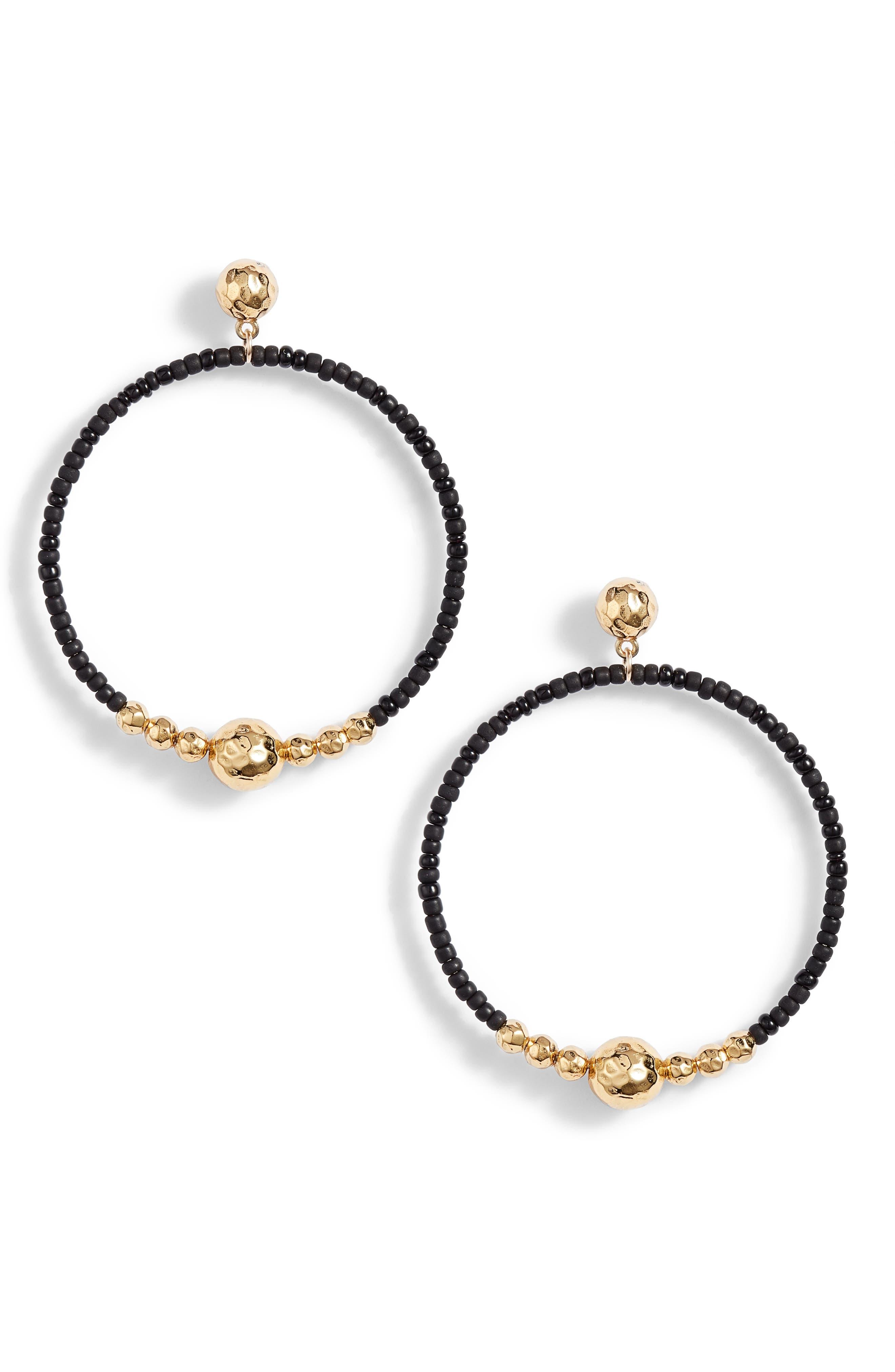 Sayulita Drop Hoop Earrings,                             Main thumbnail 1, color,                             Black