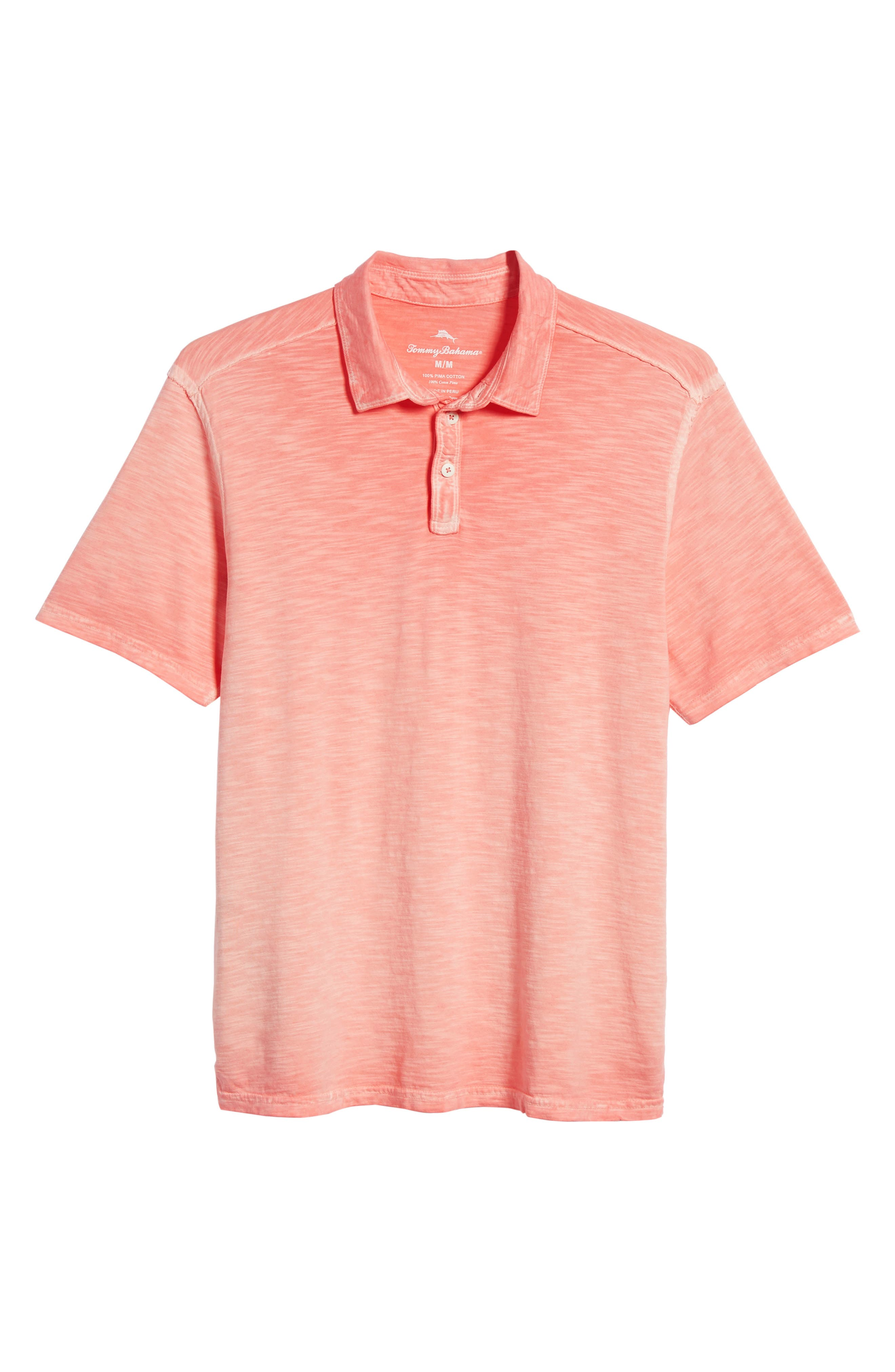 Suncoast Shores Slub Jersey Polo,                             Alternate thumbnail 6, color,                             Electric Coral