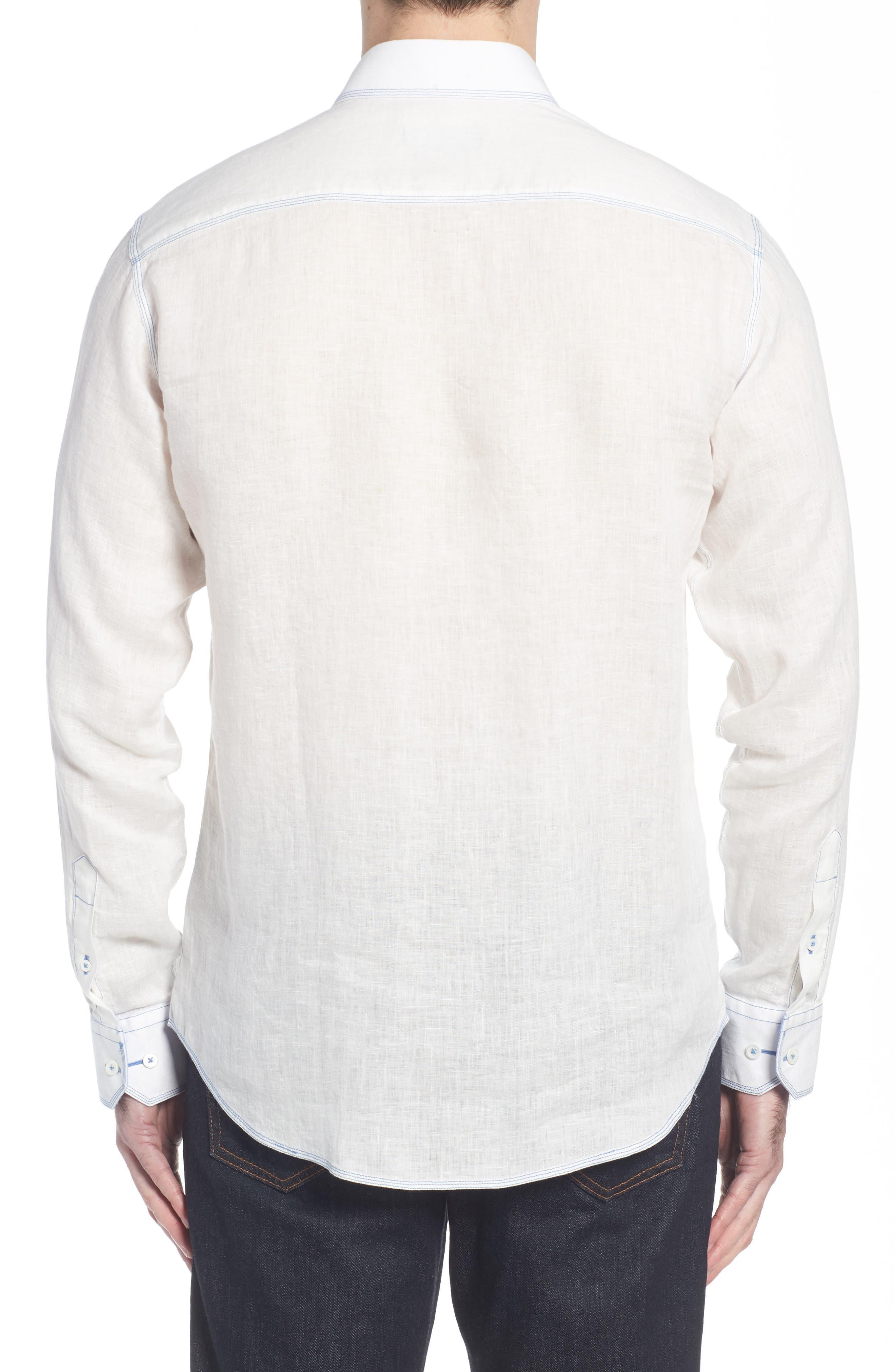 Shaped Fit Linen Sport Shirt,                             Alternate thumbnail 3, color,                             White