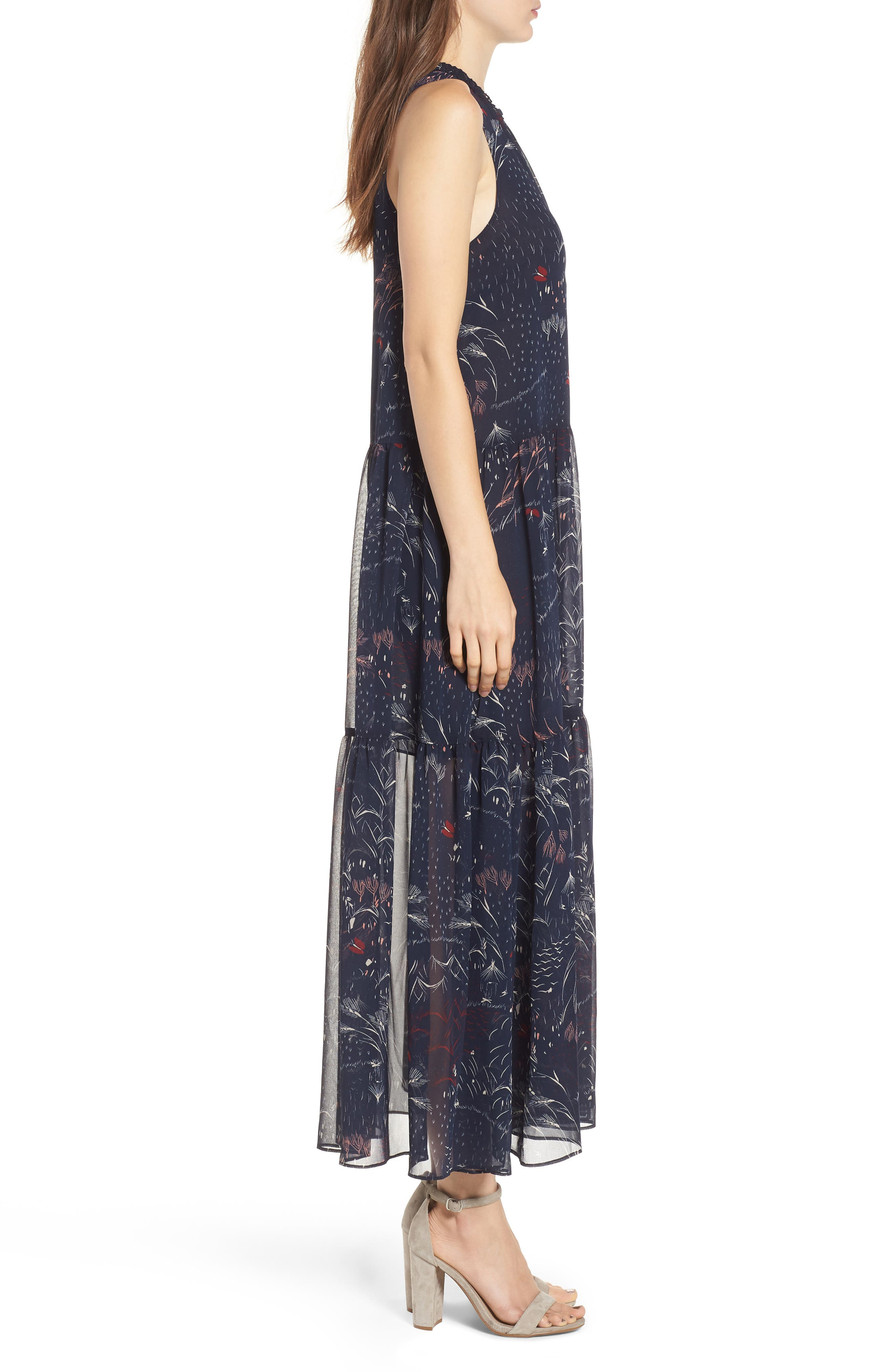 Print Tiered Maxi Dress,                             Alternate thumbnail 3, color,                             Navy Blazer Feather Grass