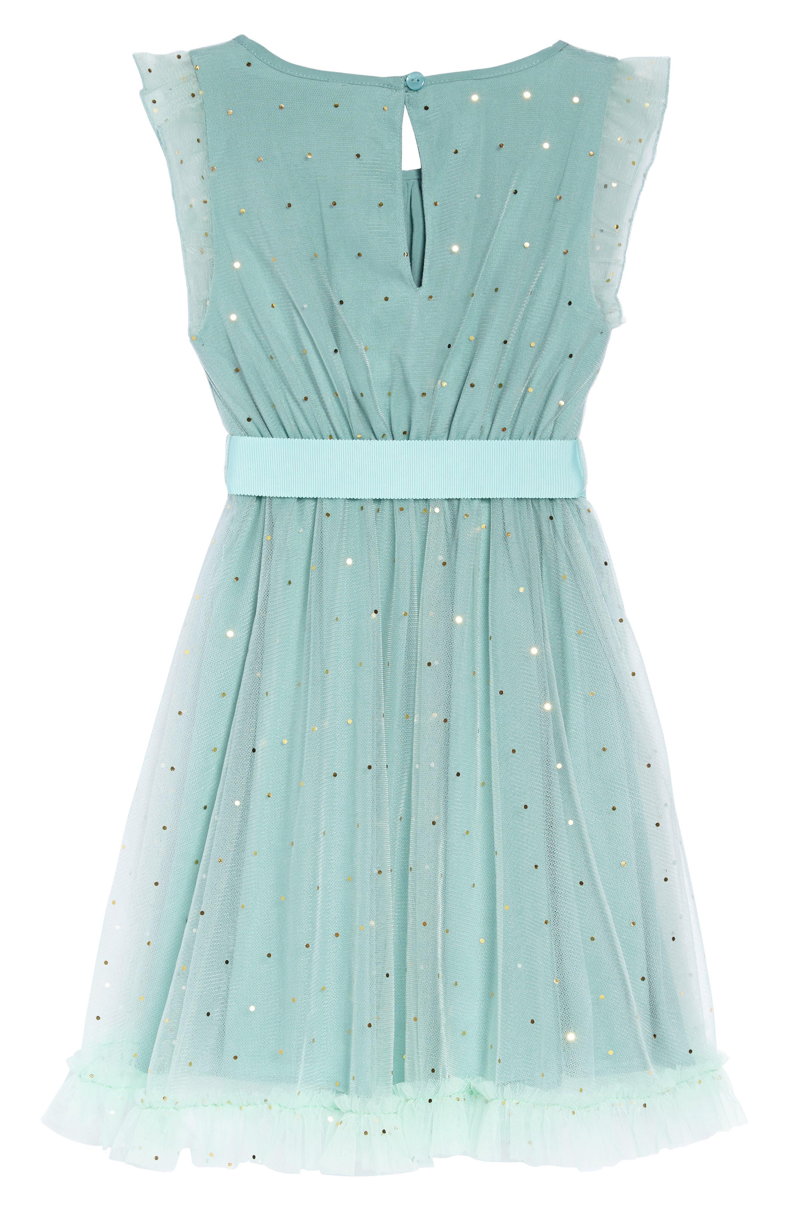 Christina Dot Tulle Fit & Flare Dress,                             Alternate thumbnail 2, color,                             Aqua