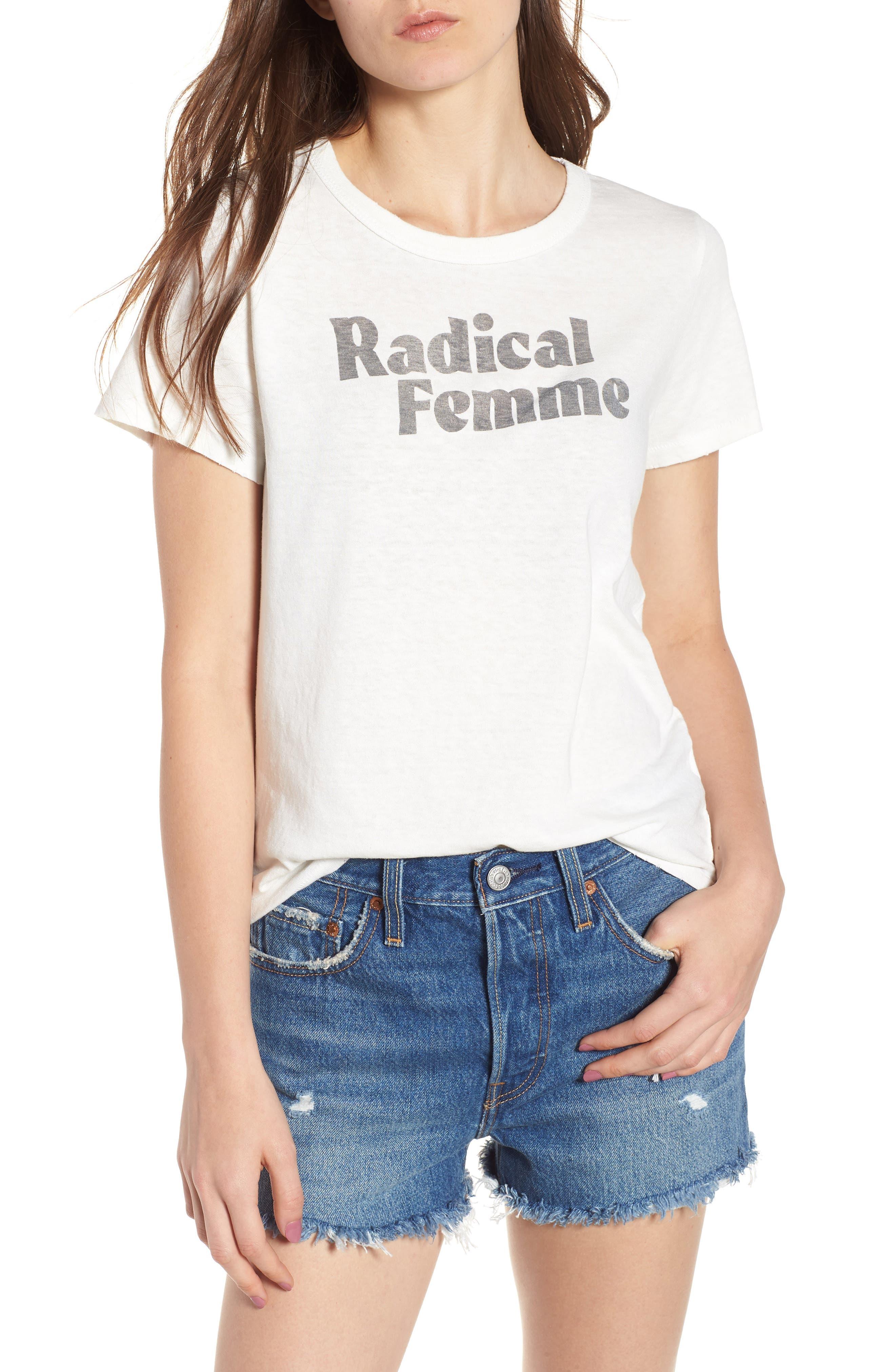 Radical Femme Tee,                         Main,                         color, Vintage White