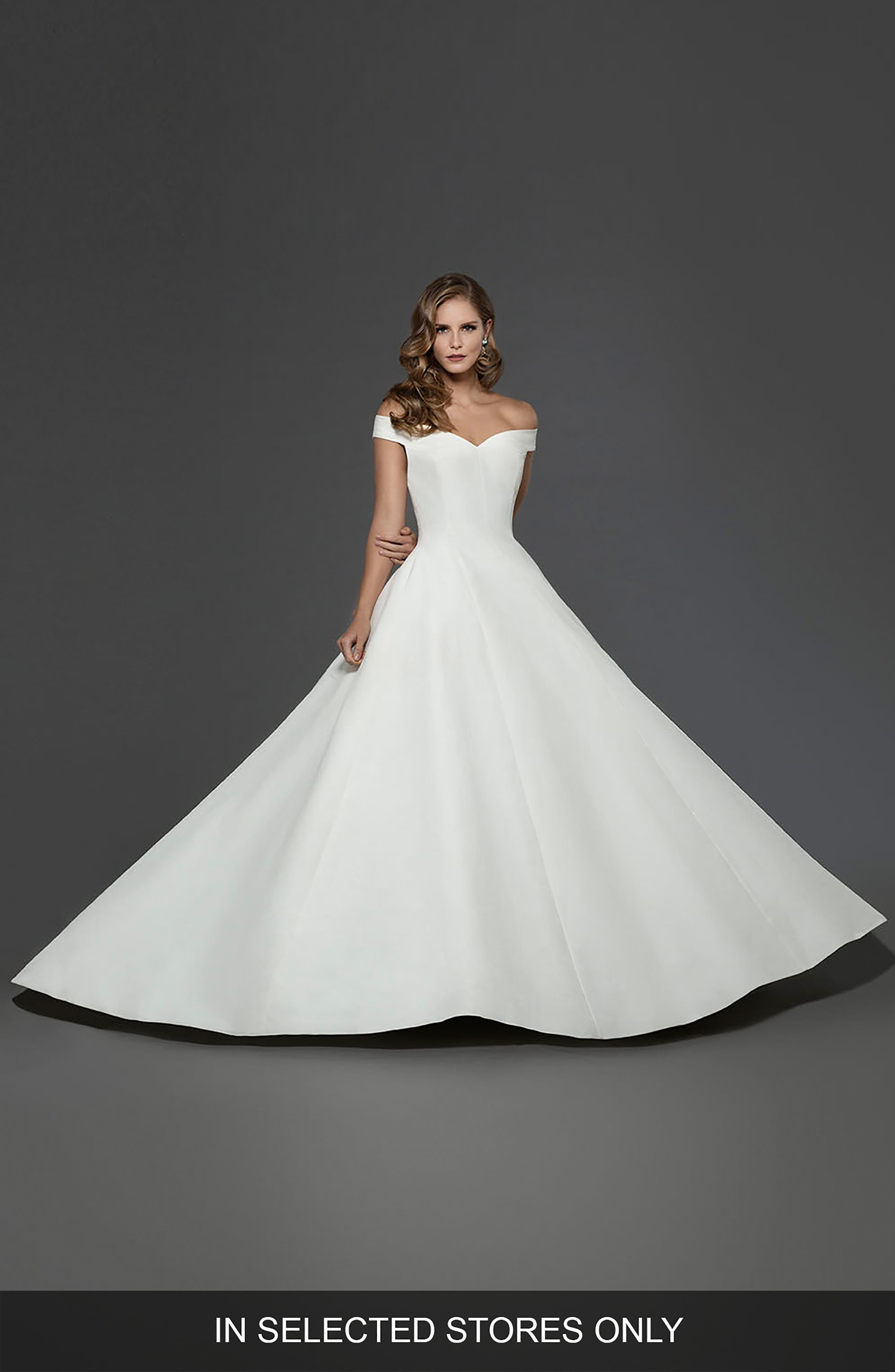 Matthew Christopher Antoinette Off The Shoulder A Line Gown