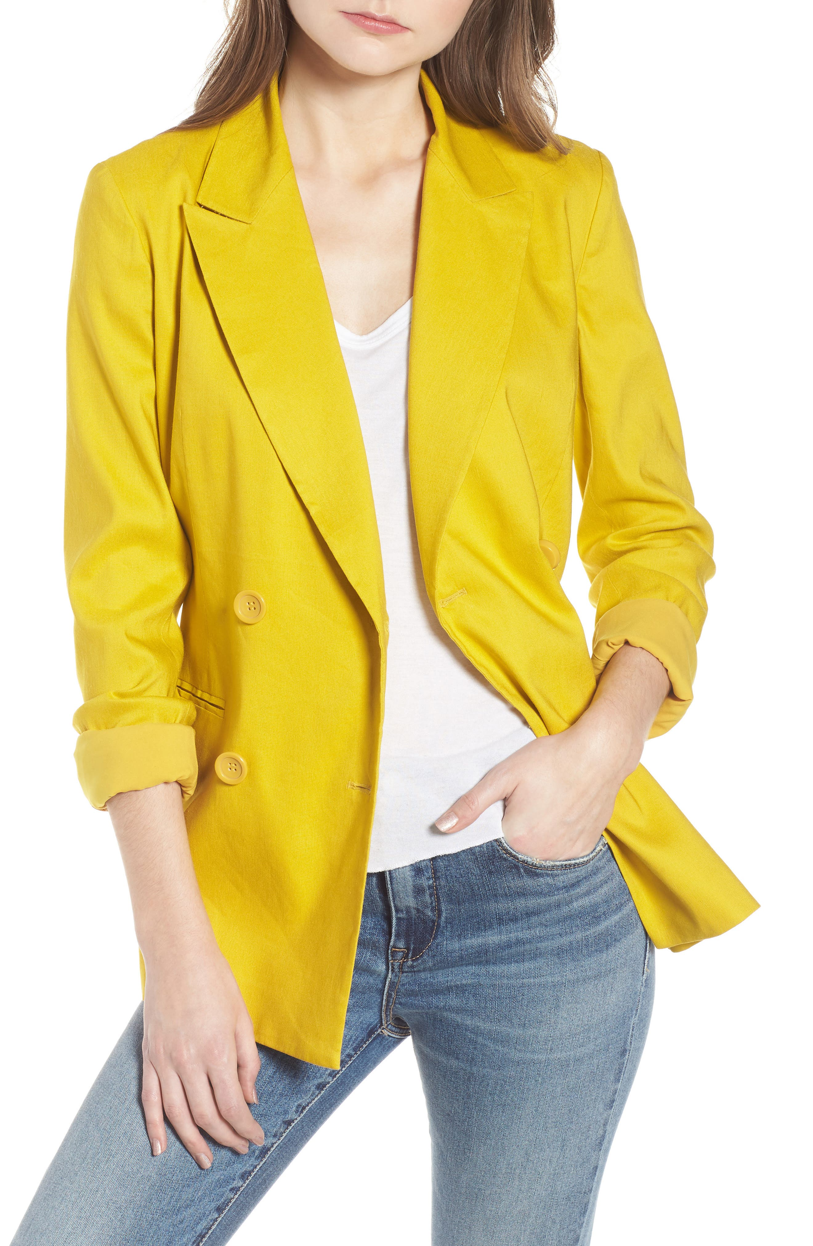 Double Breasted Linen Blend Blazer,                             Main thumbnail 1, color,                             Yellow Tea