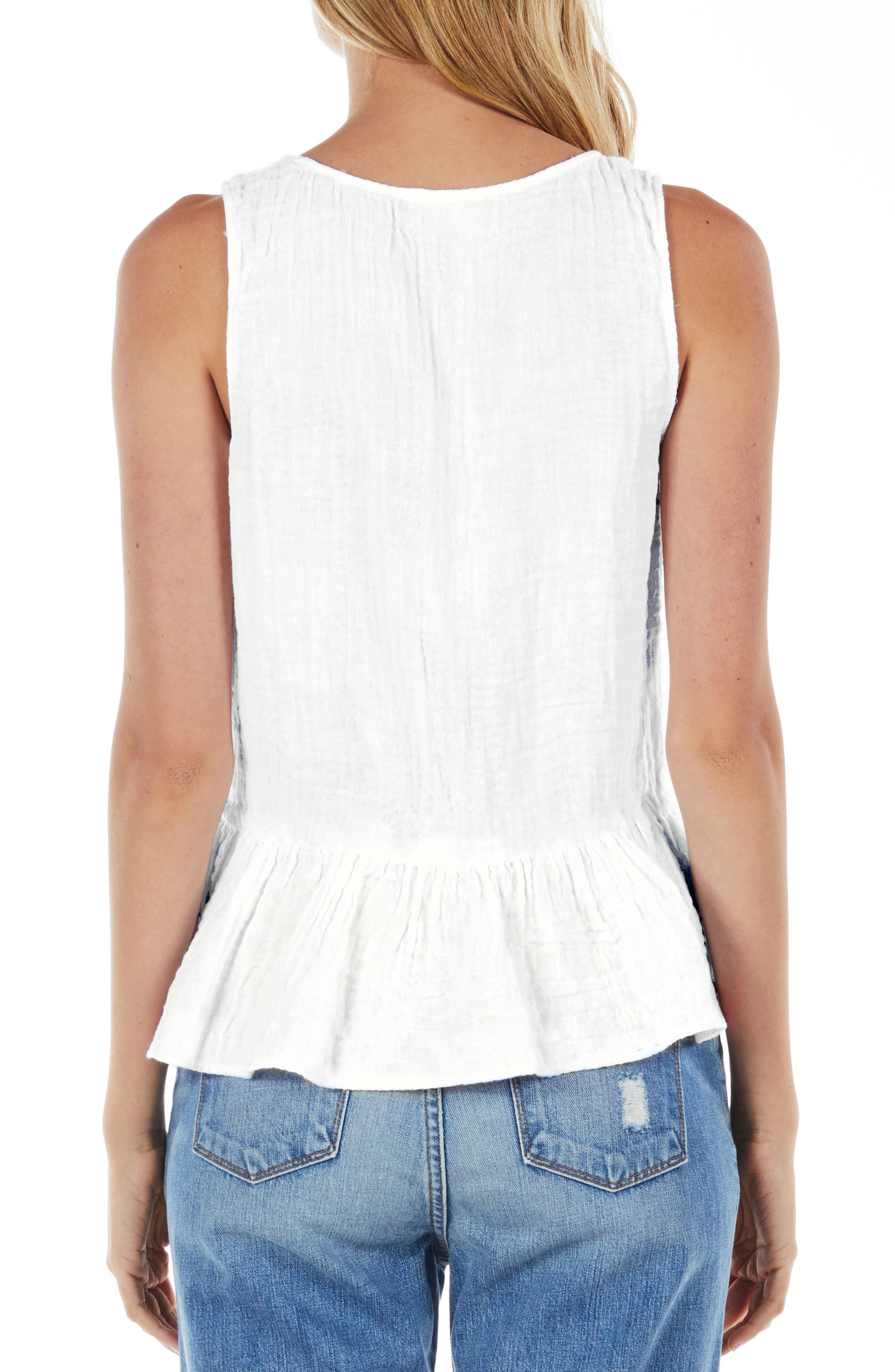Peplum Tank,                             Alternate thumbnail 2, color,                             White