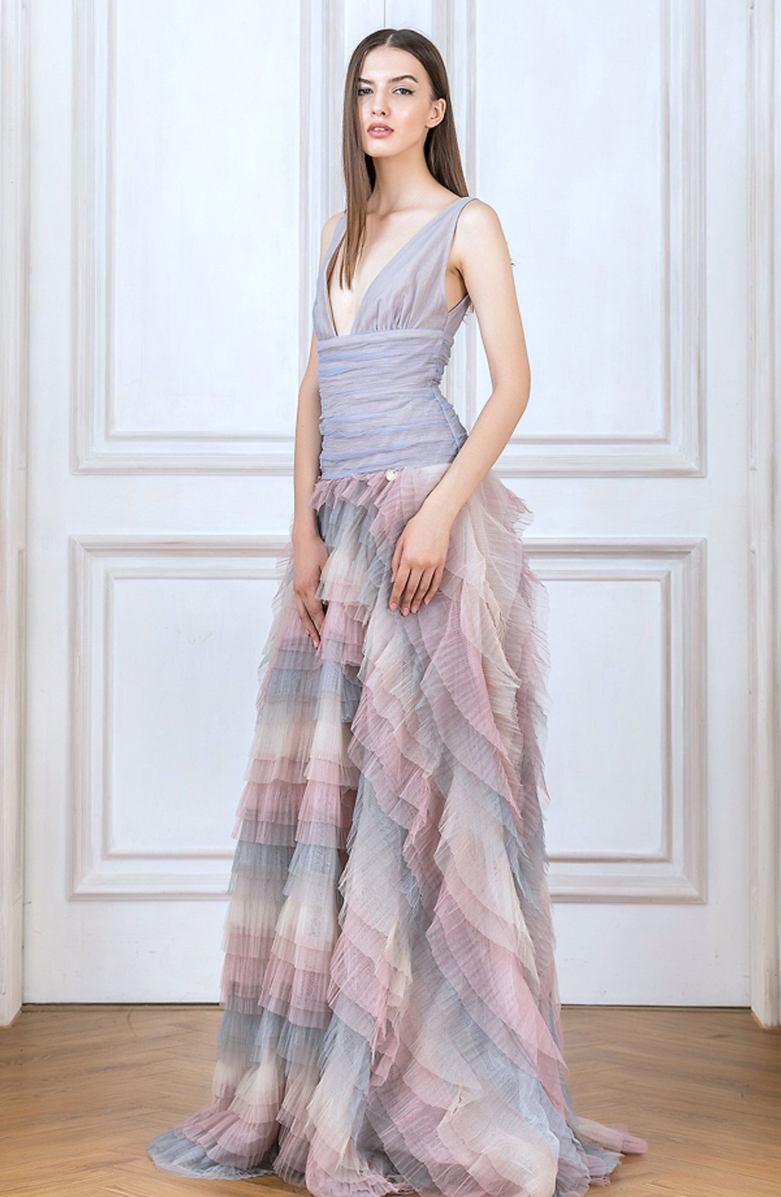 Amelia Tier Ruffle Gown,                             Alternate thumbnail 7, color,