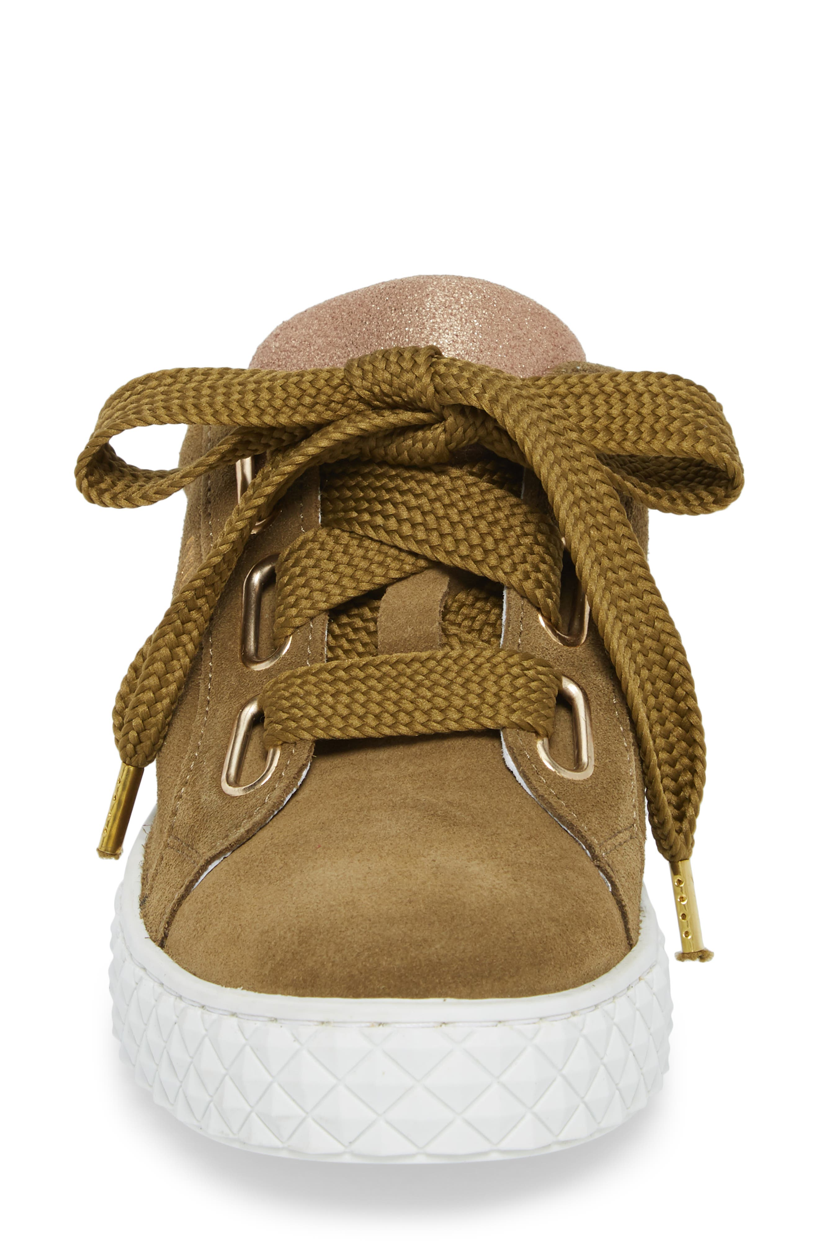 Acton III Sneaker,                             Alternate thumbnail 4, color,                             Military Green/ Gold Suede