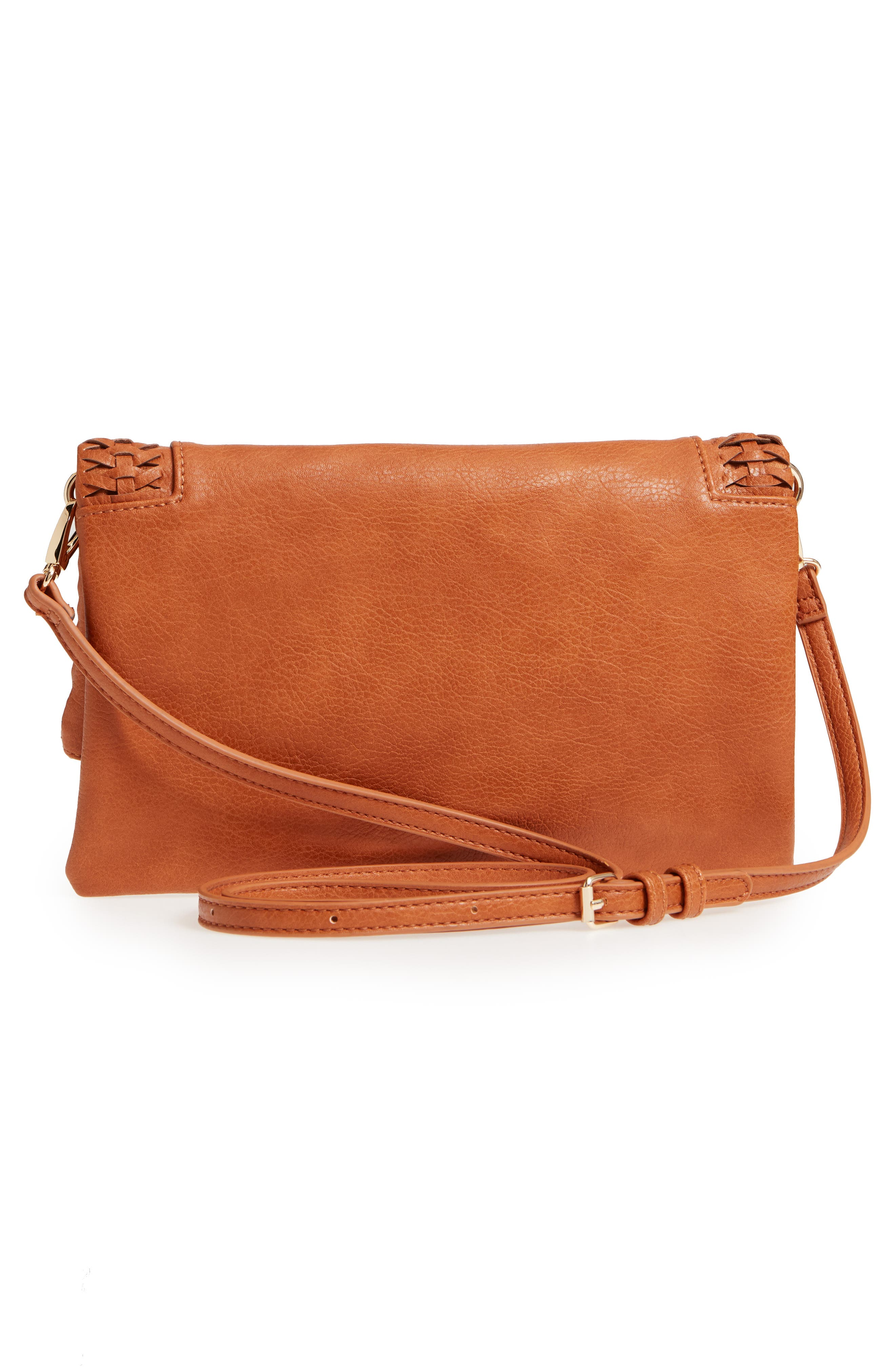 Tara Whipstitched Faux Leather Clutch,                             Alternate thumbnail 3, color,                             Cognac
