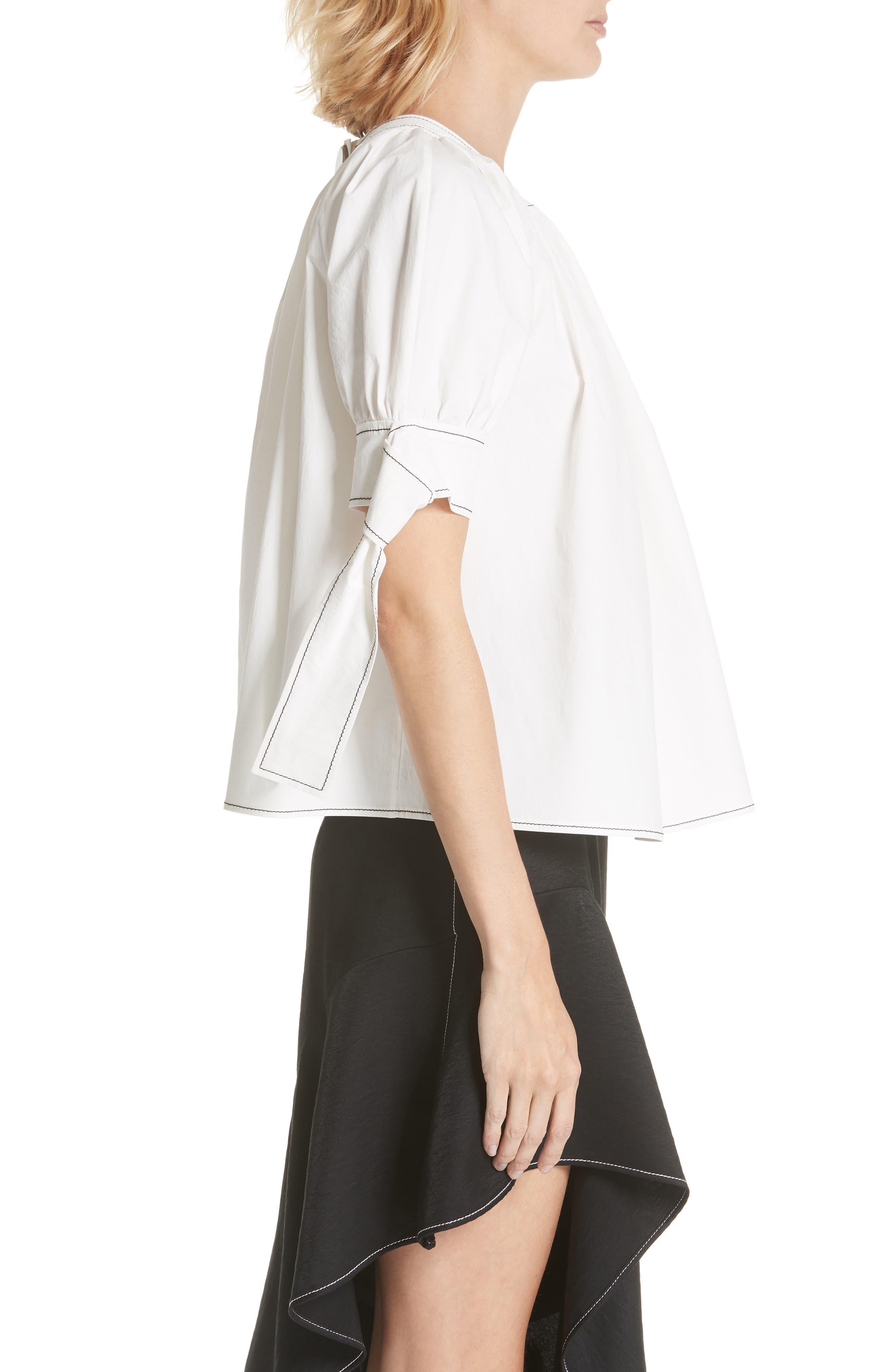 Hailey Short Sleeve Blouse Top,                             Alternate thumbnail 3, color,                             Cotton White