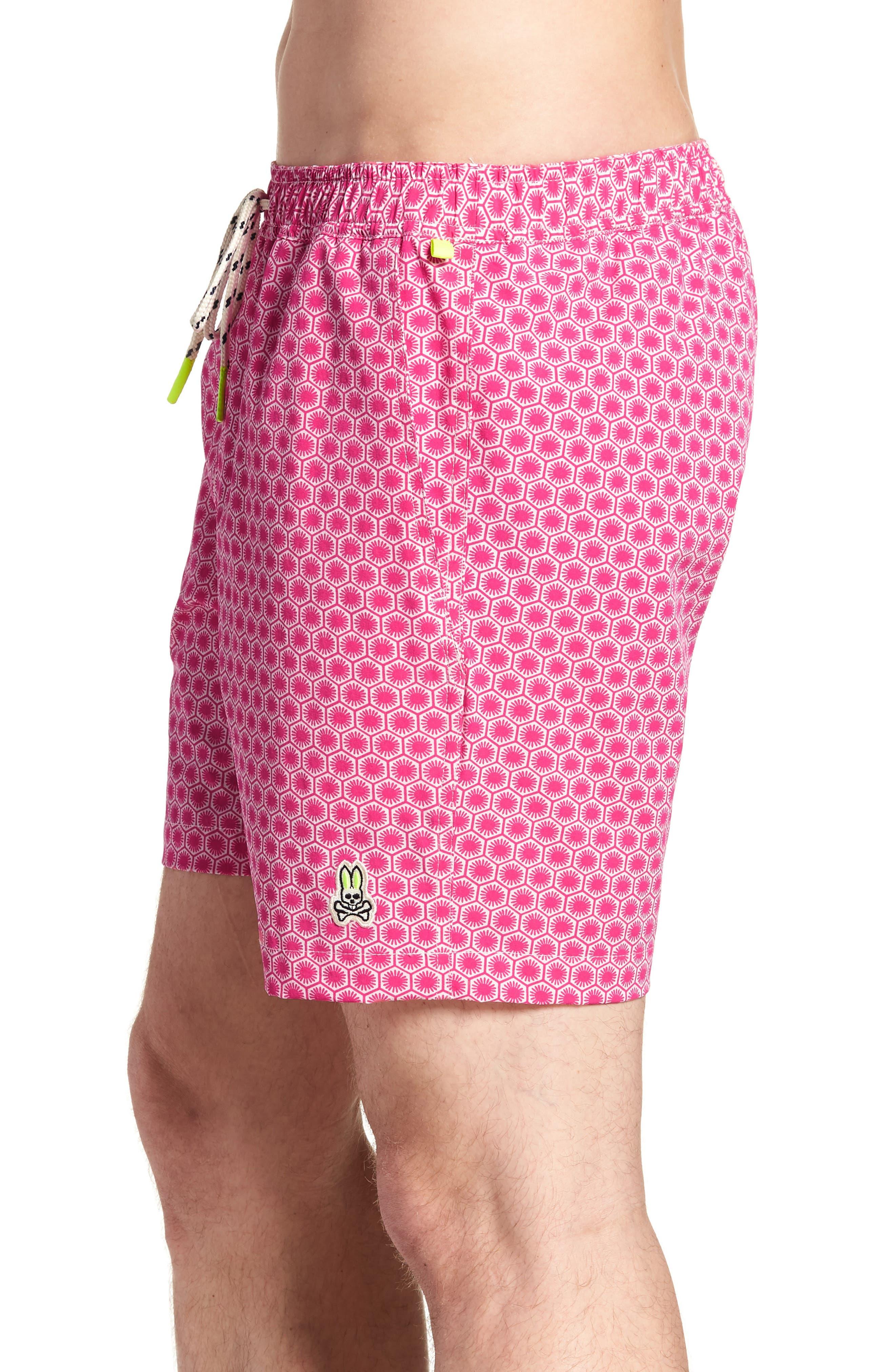 Psycho Bunny Japanese Honeycomb Swim Trunks,                             Alternate thumbnail 3, color,                             Raspberry