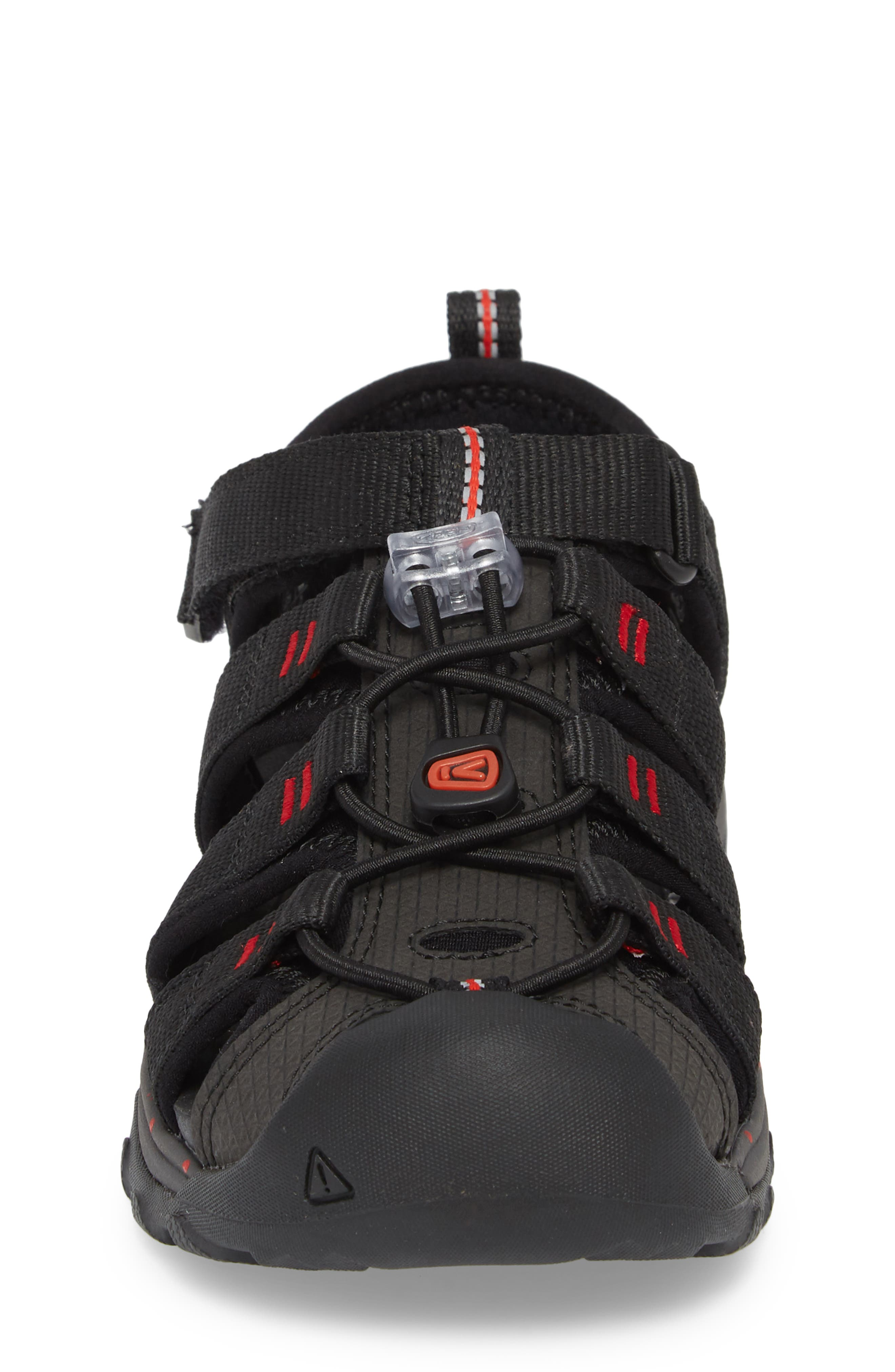 Newport Neo H2 Water Friendly Sandal,                             Alternate thumbnail 4, color,                             Black/ Fiery Red