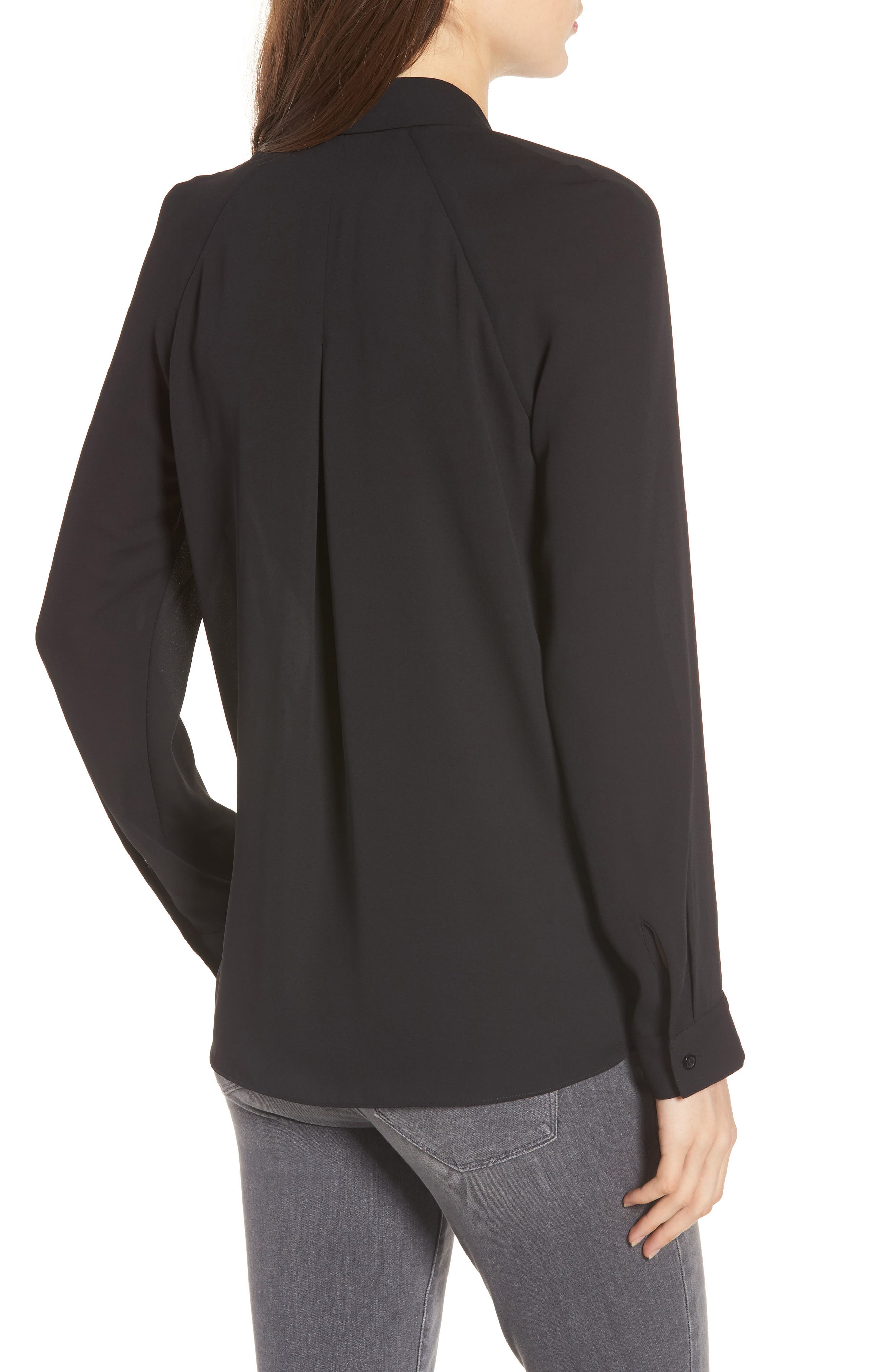 Cutout Surplice Top,                             Alternate thumbnail 2, color,                             Black