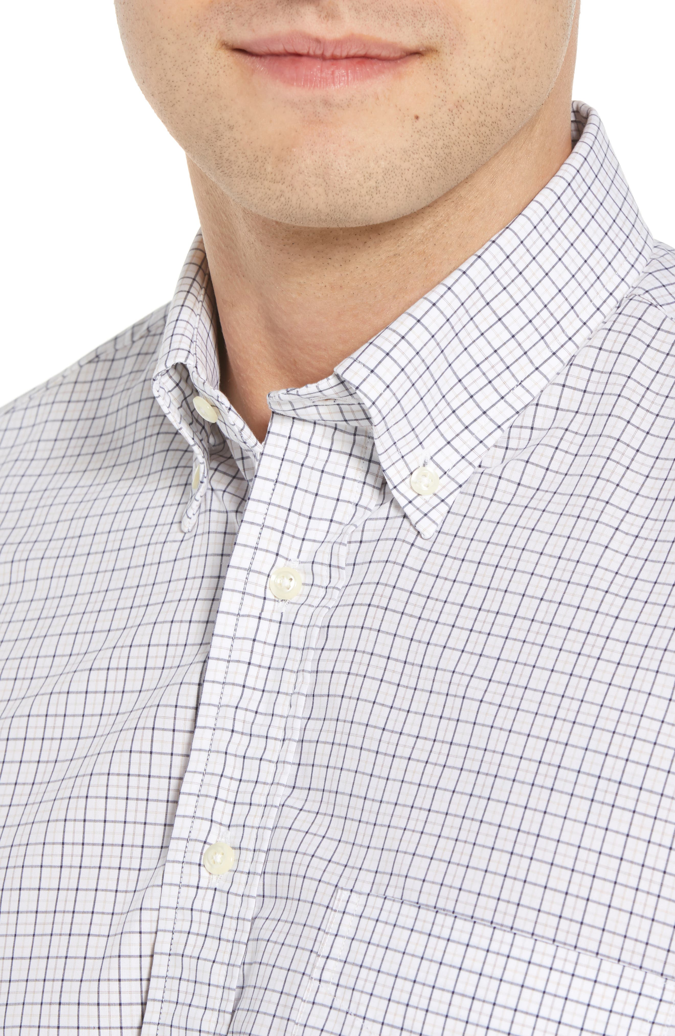 Tailored Fit Check Dress Shirt,                             Alternate thumbnail 2, color,                             White/ Blue