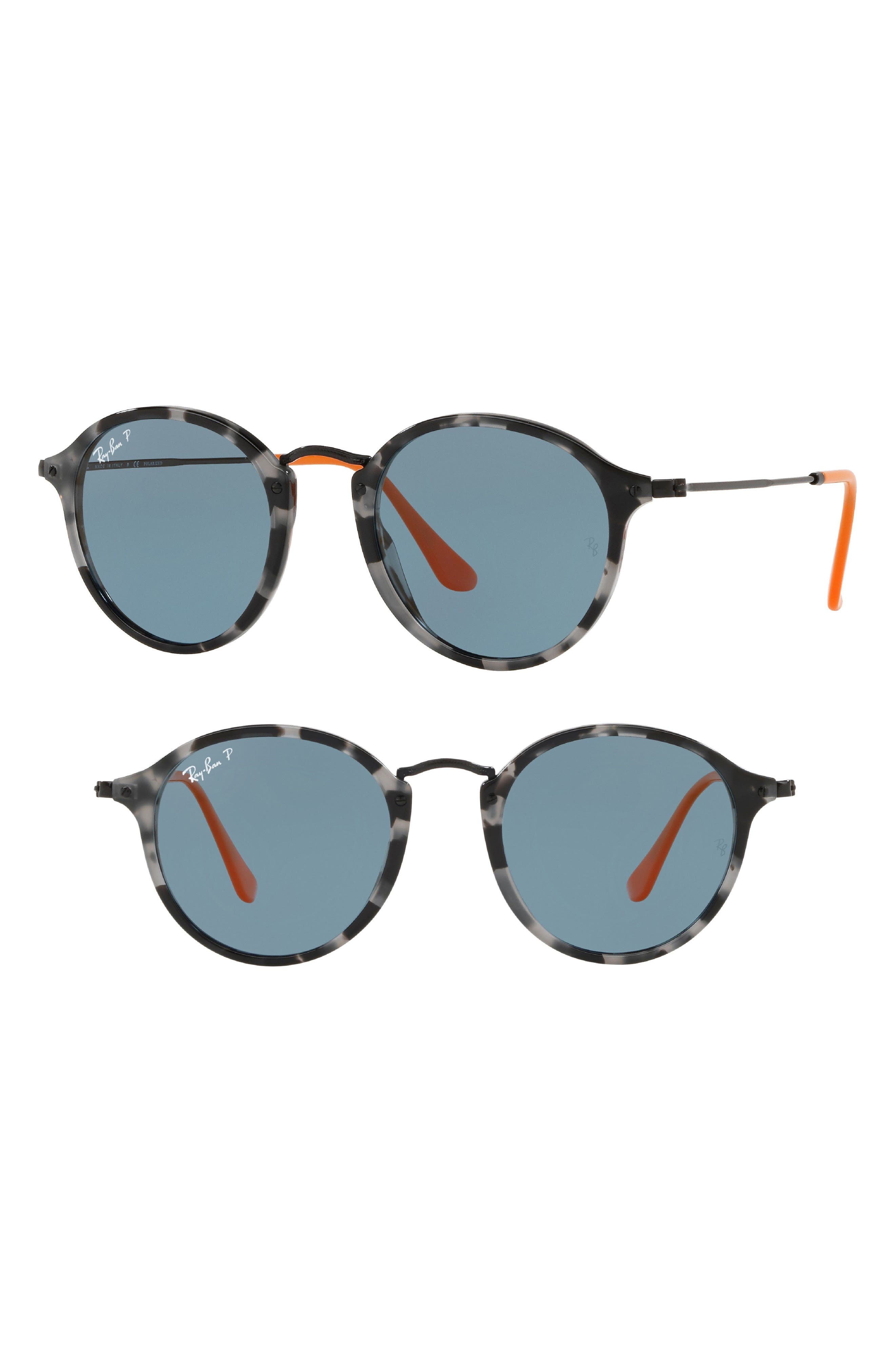 52mm Polarized Round Sunglasses,                         Main,                         color, Dark Grey Tortoise