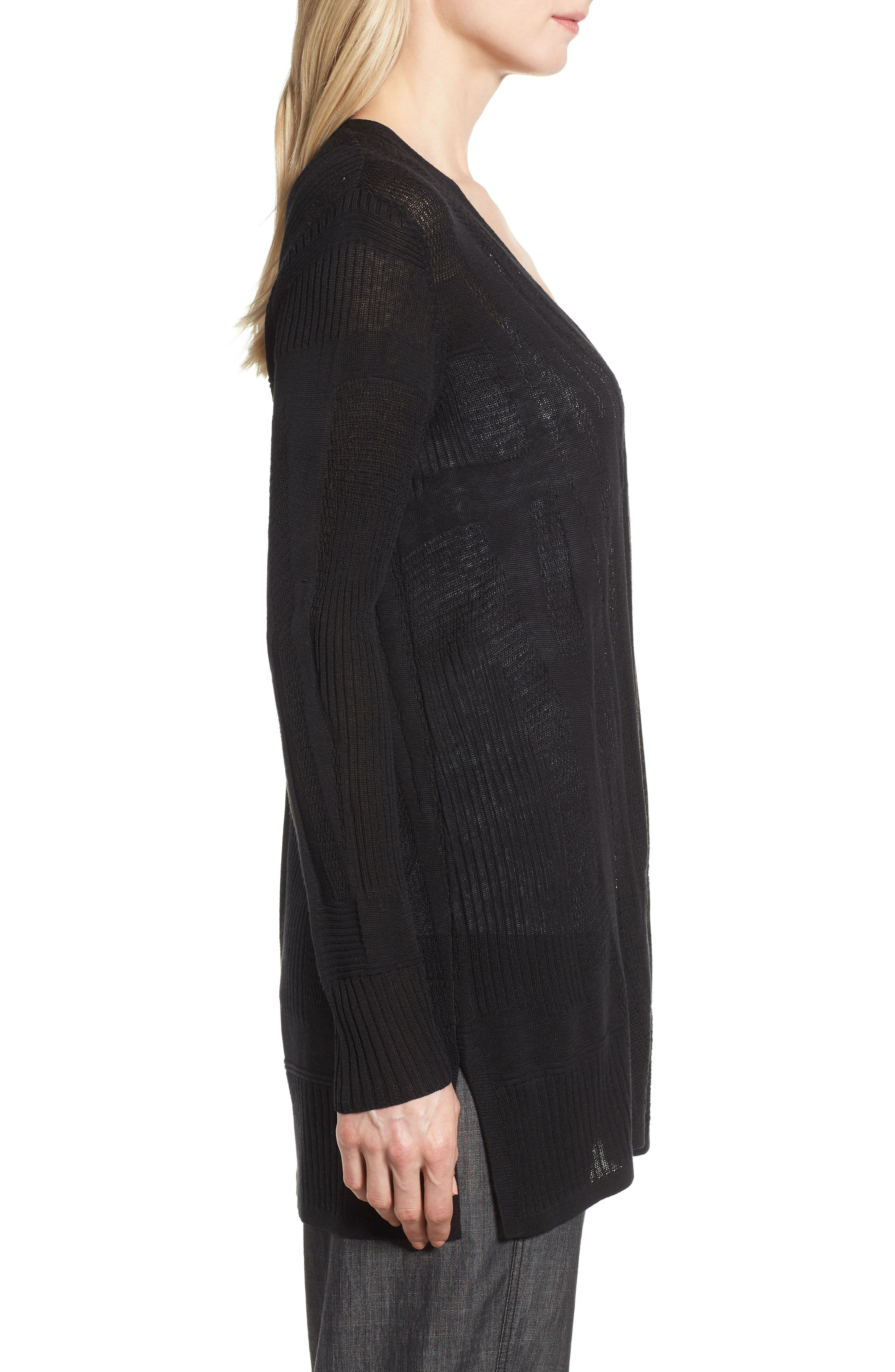 Simple Silk & Organic Linen Cardigan,                             Alternate thumbnail 3, color,                             Black
