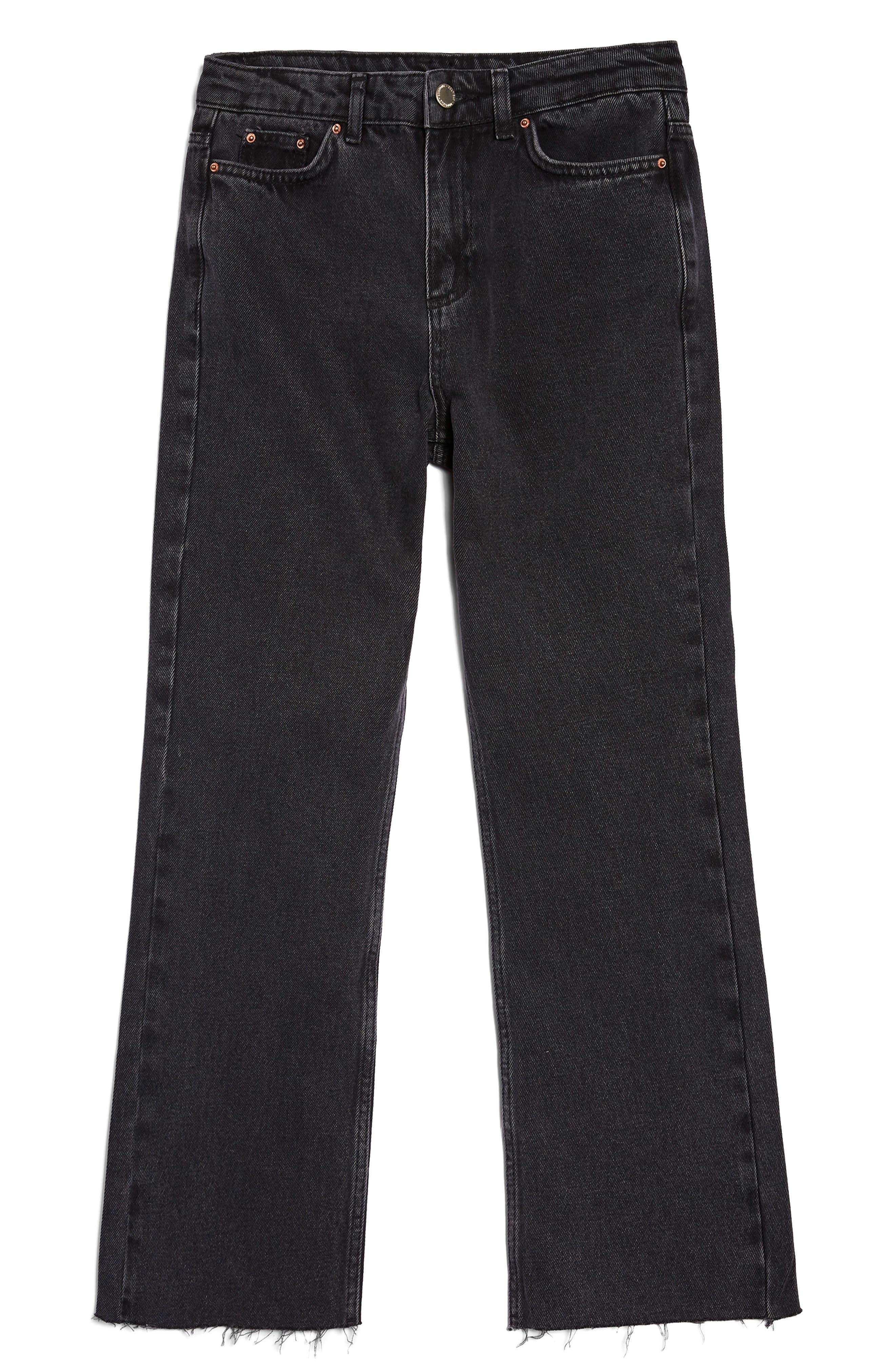 Raw Hem Kick Flare Jeans,                             Main thumbnail 1, color,                             Washed Black