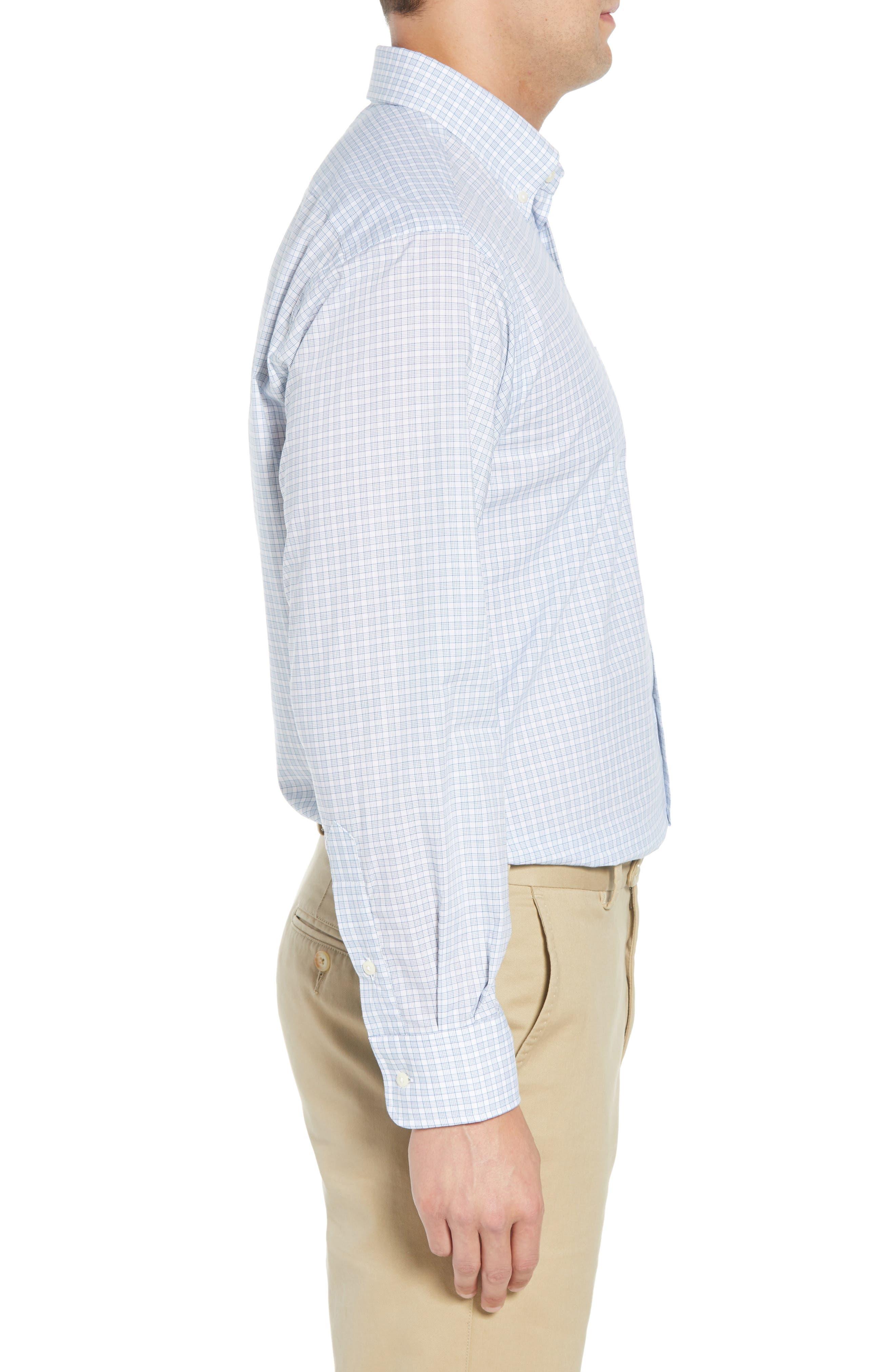 Tailored Fit Check Dress Shirt,                             Alternate thumbnail 4, color,                             Navy