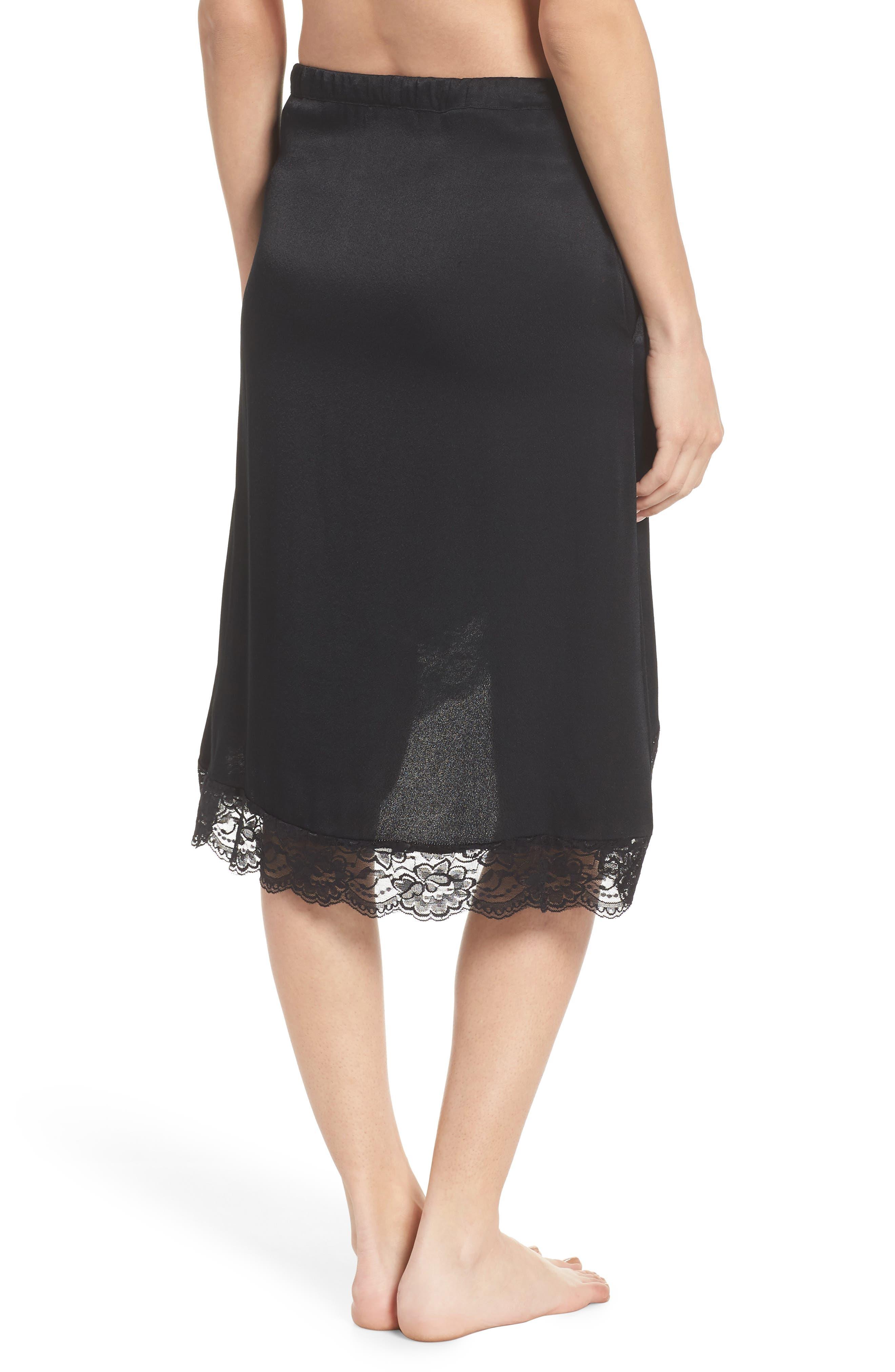 Lace Trim Slip Skirt,                             Alternate thumbnail 2, color,                             Black