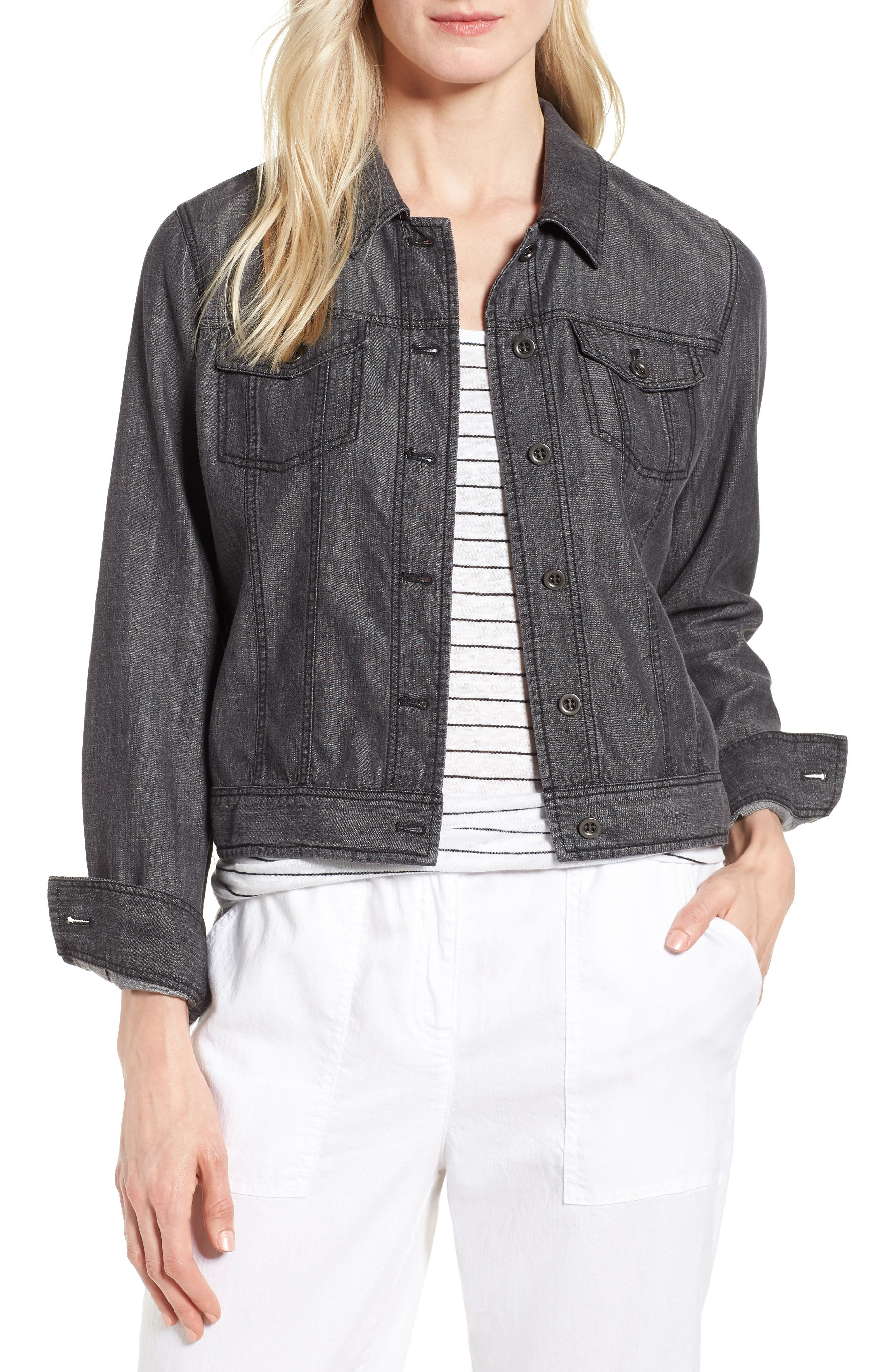 Crop Denim Jacket,                             Main thumbnail 1, color,                             Black