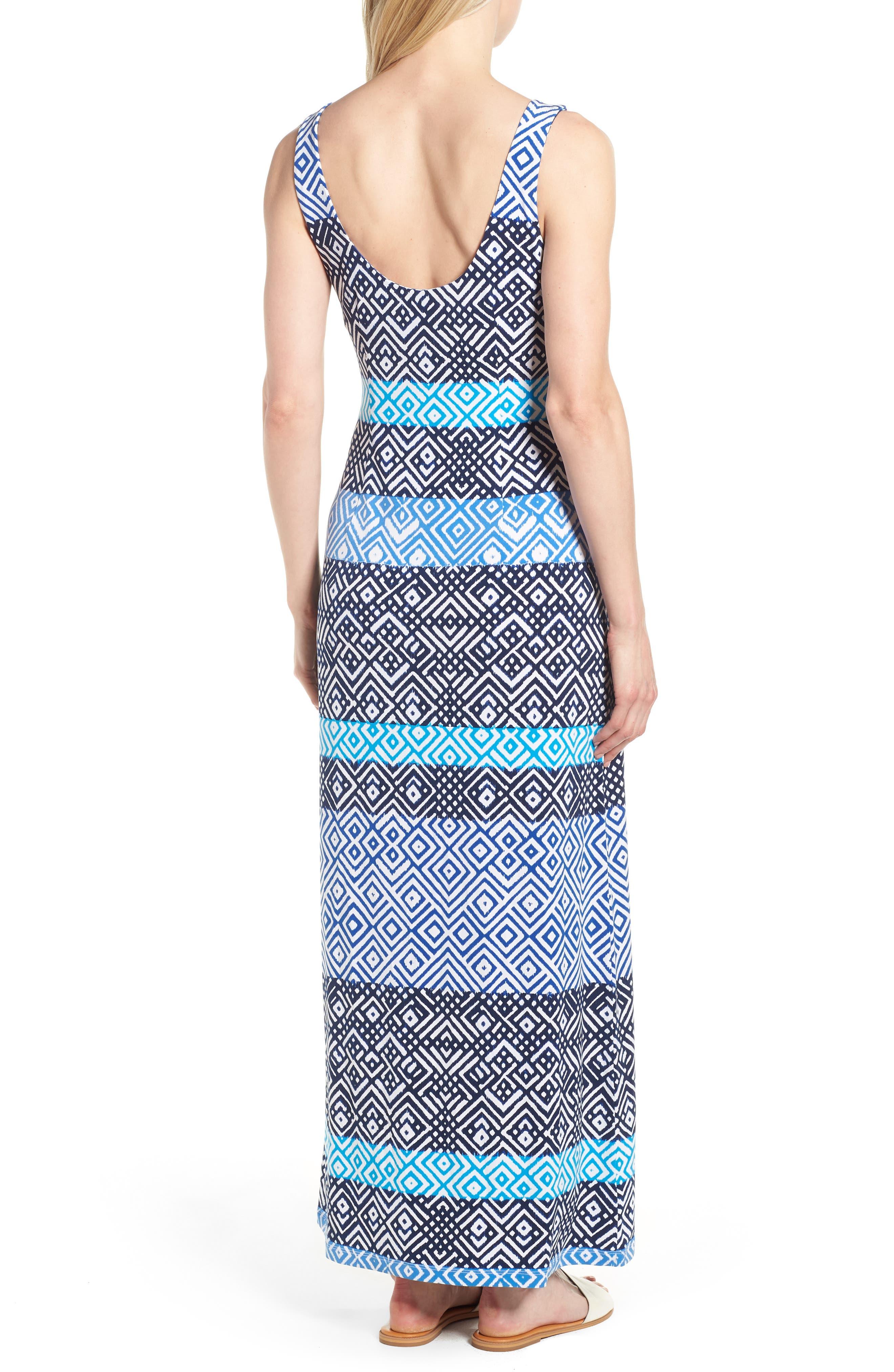 Mayan Maze Maxi Dress,                             Alternate thumbnail 2, color,                             Ocean Deep
