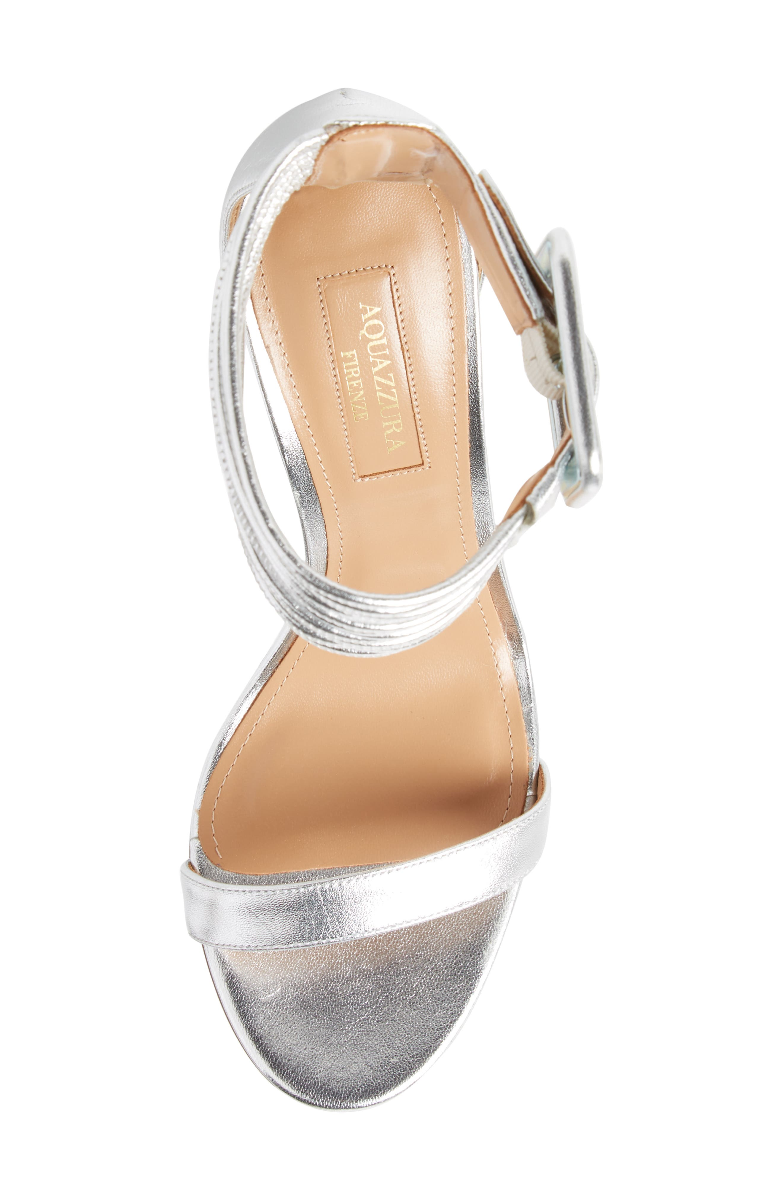 Casablanca Ankle Cuff Sandal,                             Alternate thumbnail 5, color,                             Silver