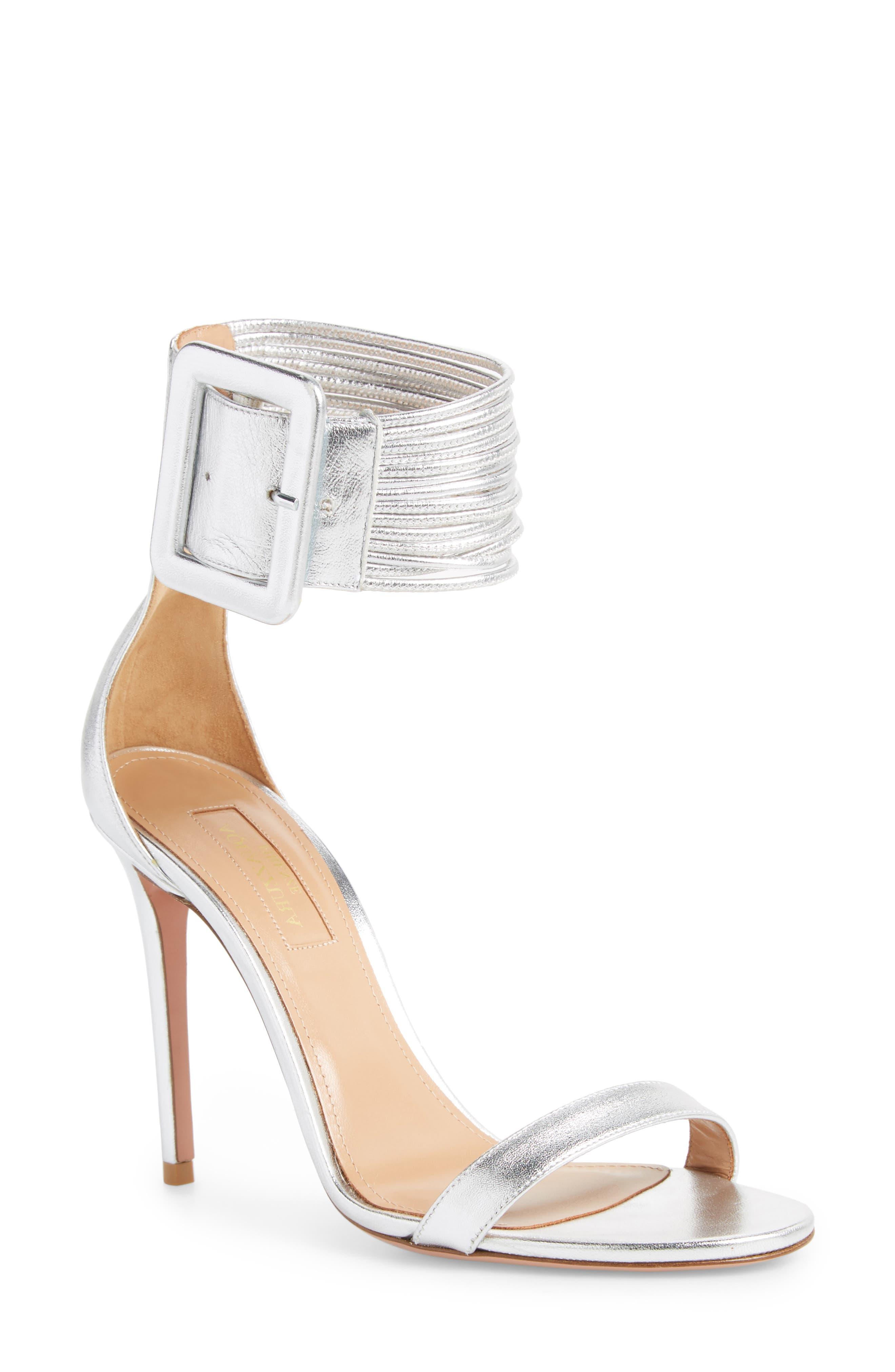 Casablanca Ankle Cuff Sandal,                         Main,                         color, Silver