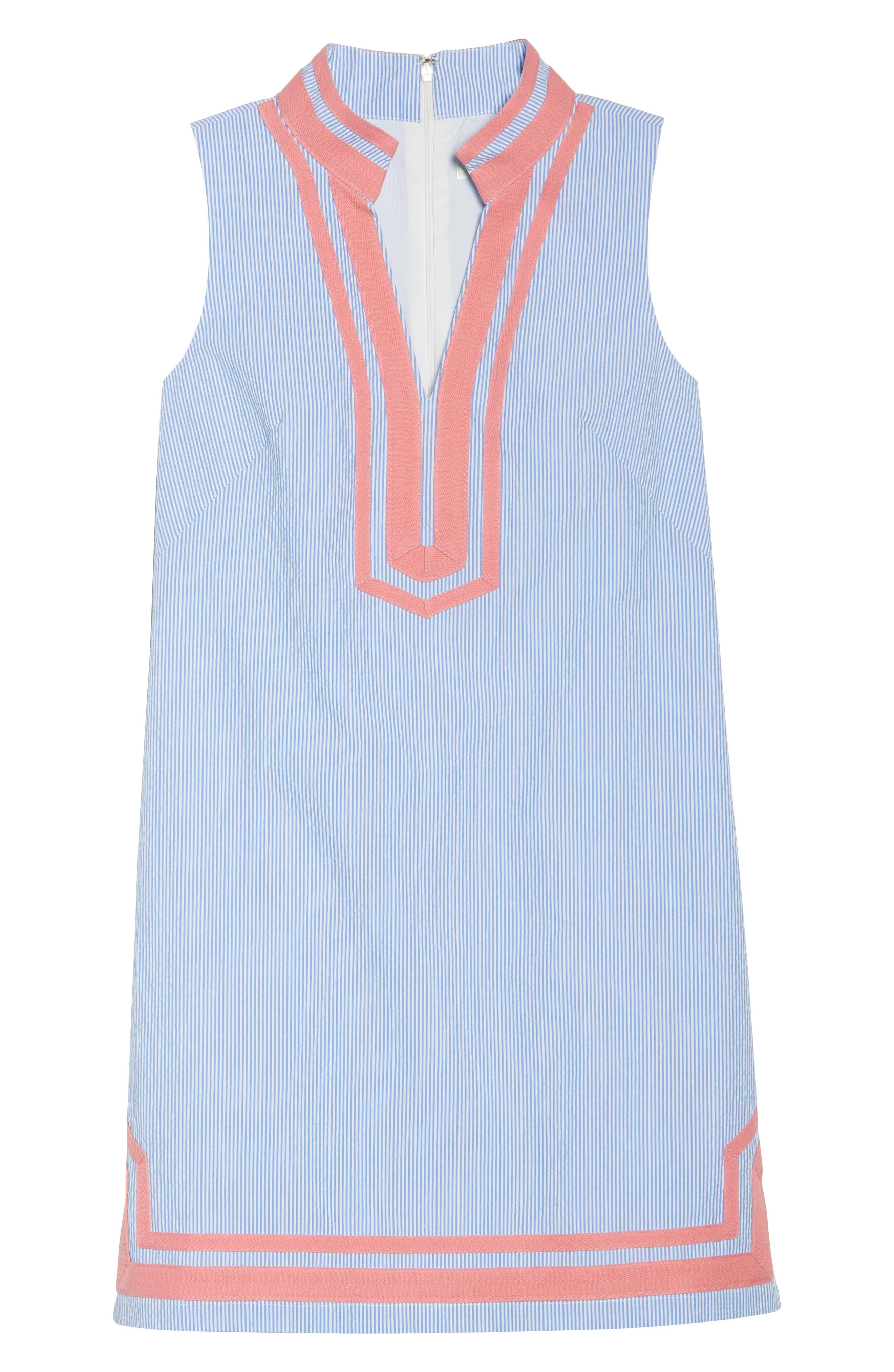 Stripe Sleeveless Shift Dress,                             Alternate thumbnail 7, color,                             Orange Sky