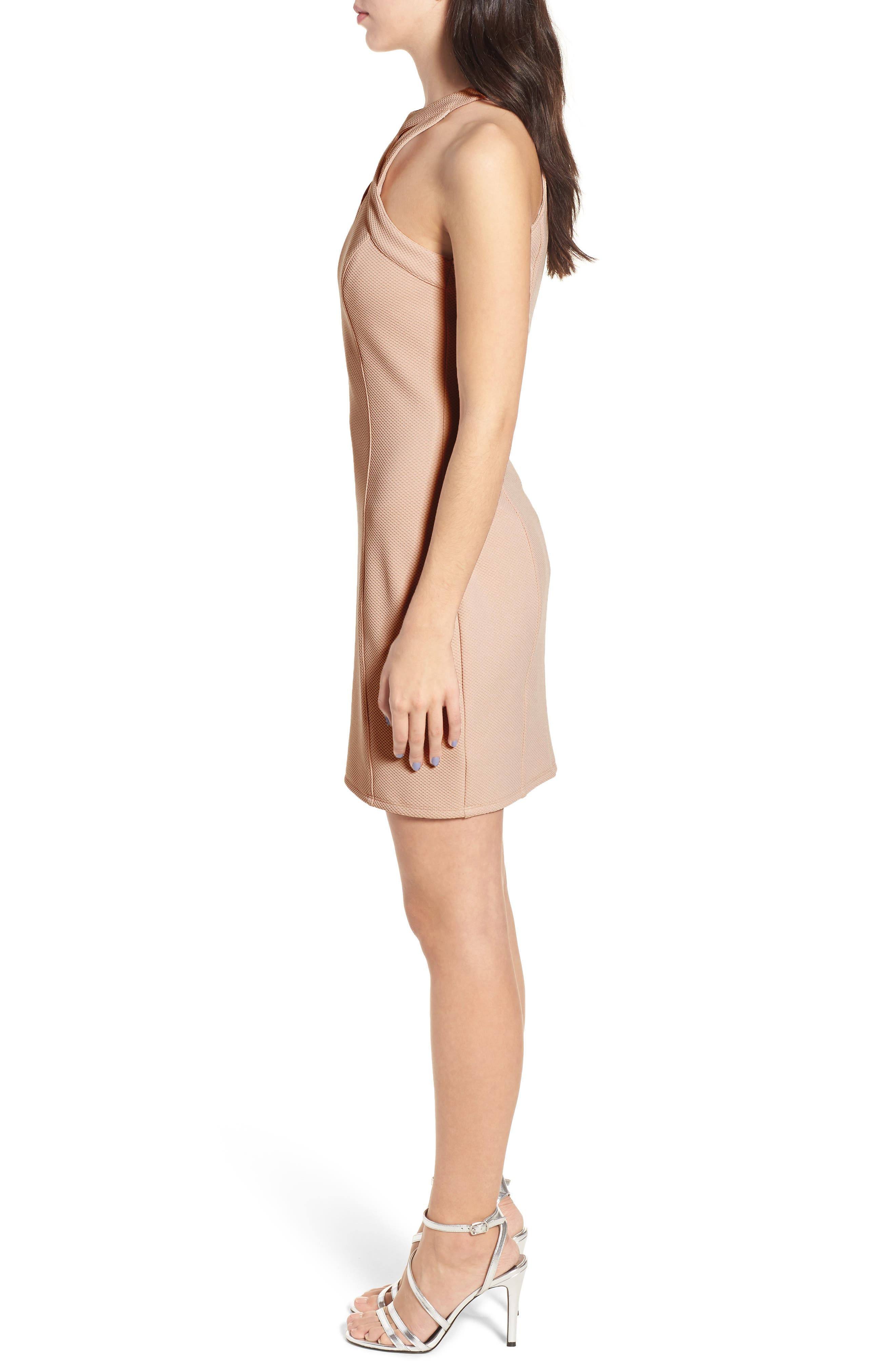 Piqué Body-Con Dress,                             Alternate thumbnail 3, color,                             Pale Pink