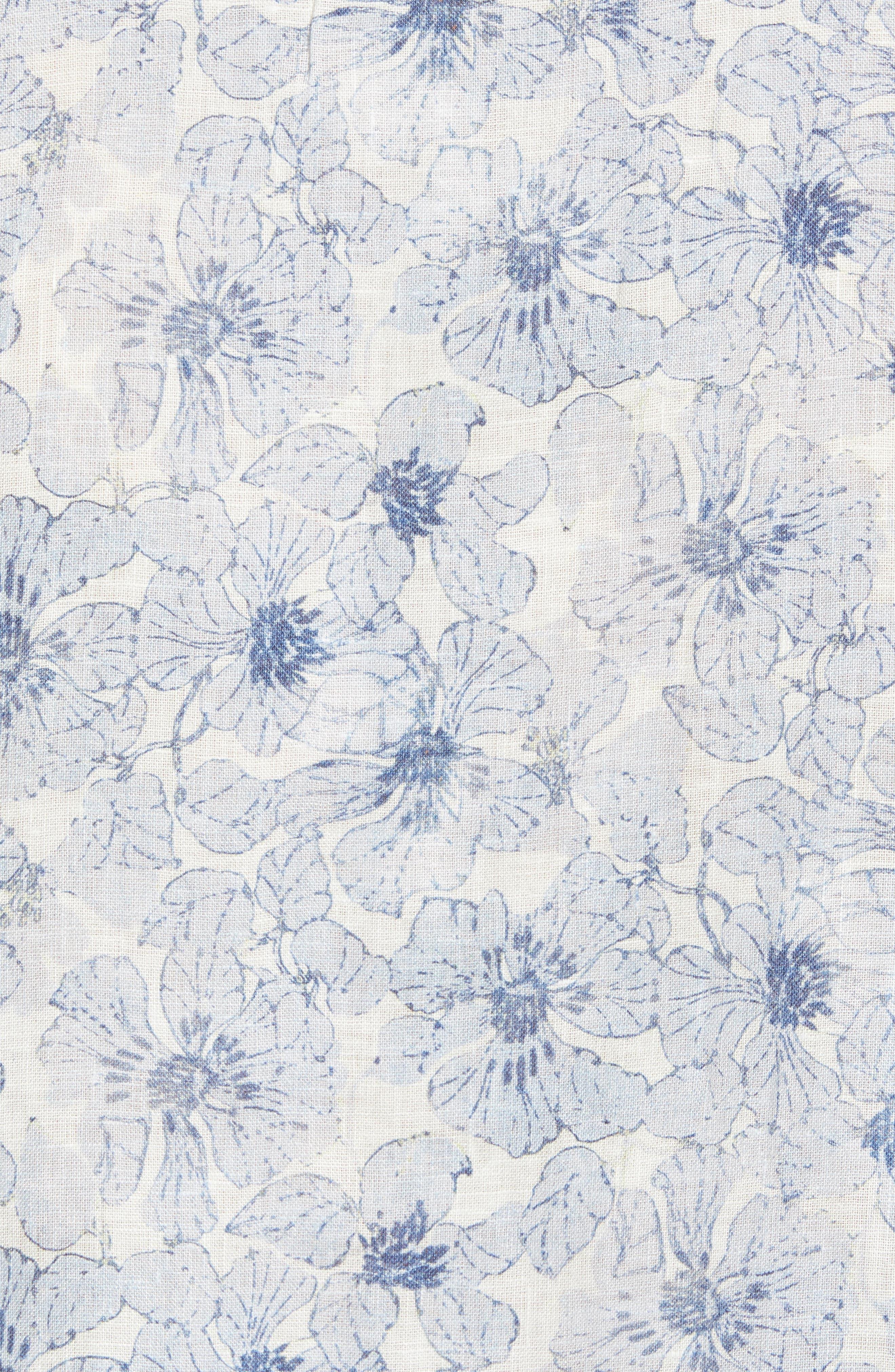 Tavton Regular Fit Floral Linen Sport Shirt,                             Alternate thumbnail 5, color,                             Sky