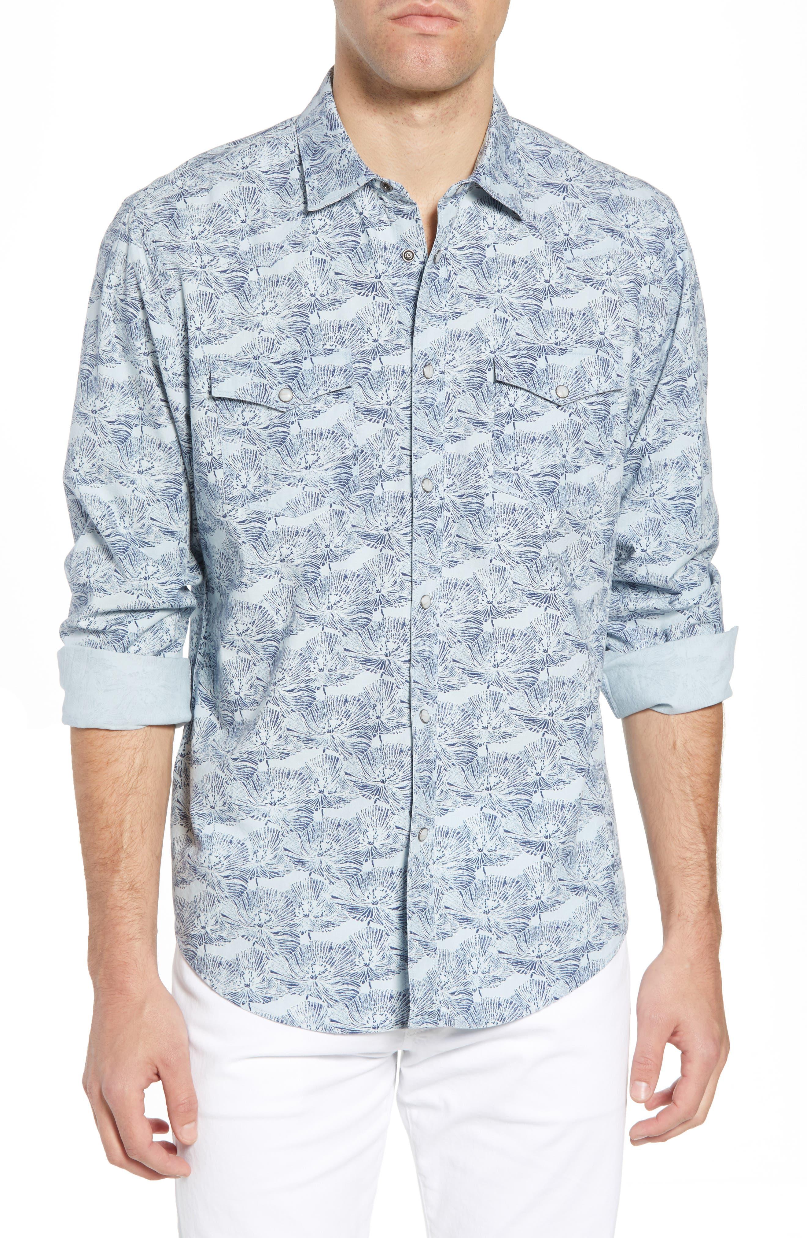Zumas Vaquero Regular Fit Floral Sport Shirt,                         Main,                         color, Indigo