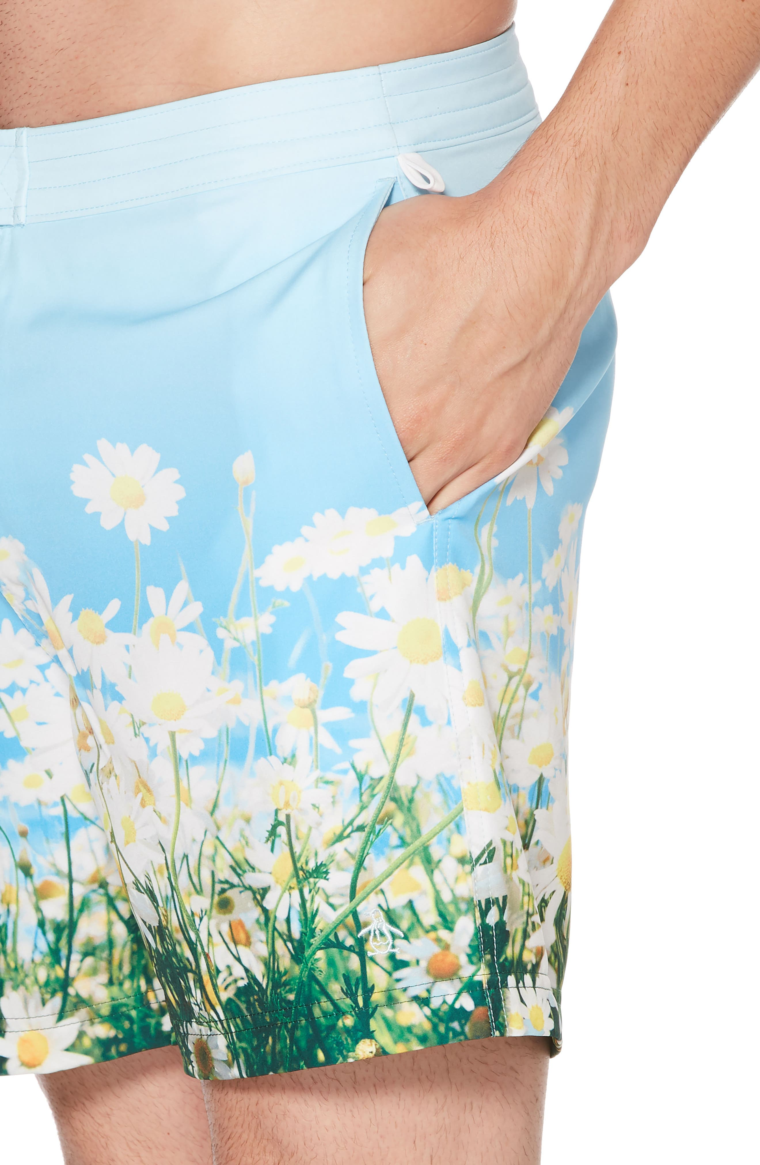 Photographic Daisy Swim Trunks,                             Alternate thumbnail 3, color,                             Omphalodes