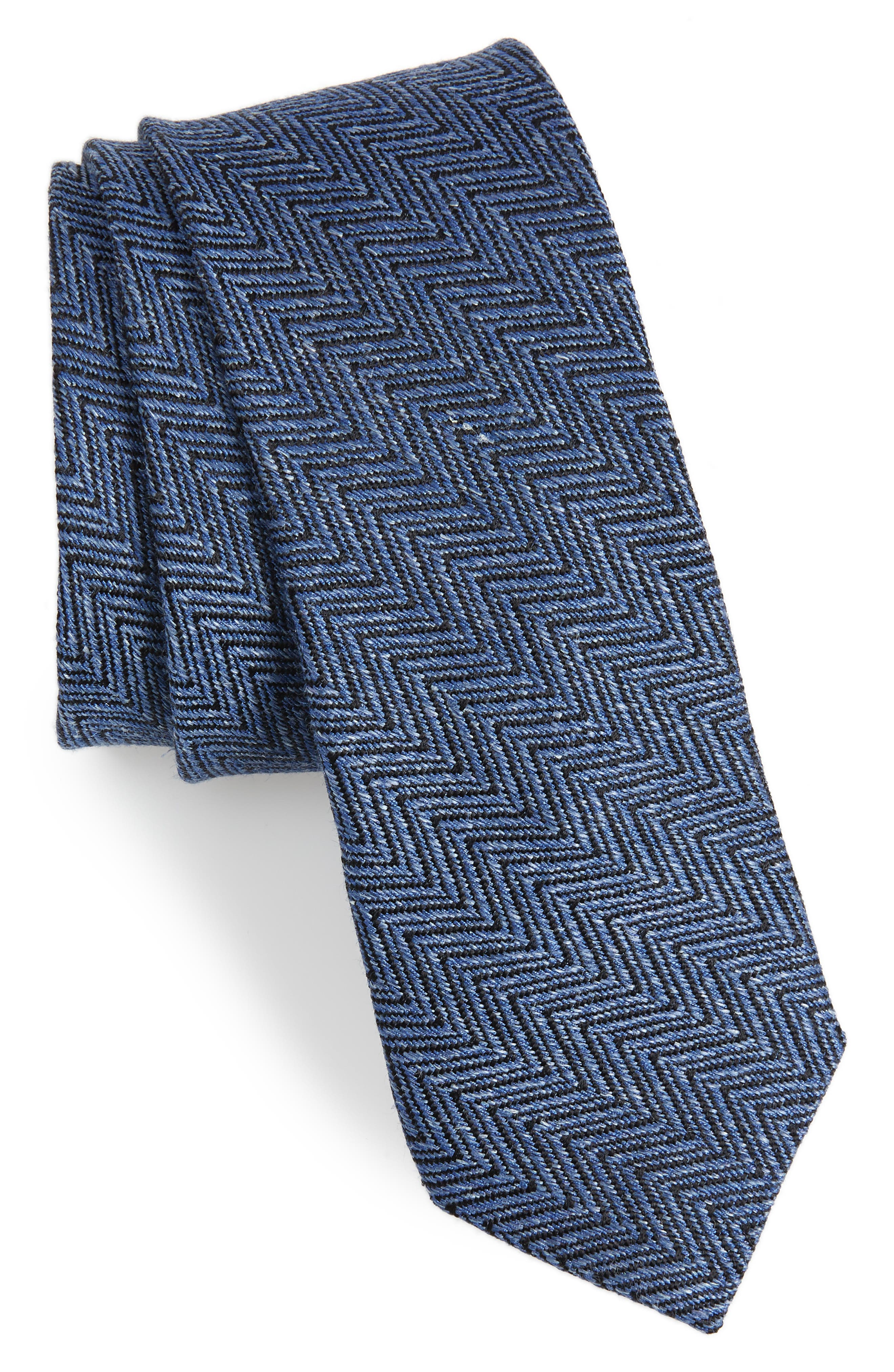 Chevron Silk & Linen Tie,                         Main,                         color, Blue
