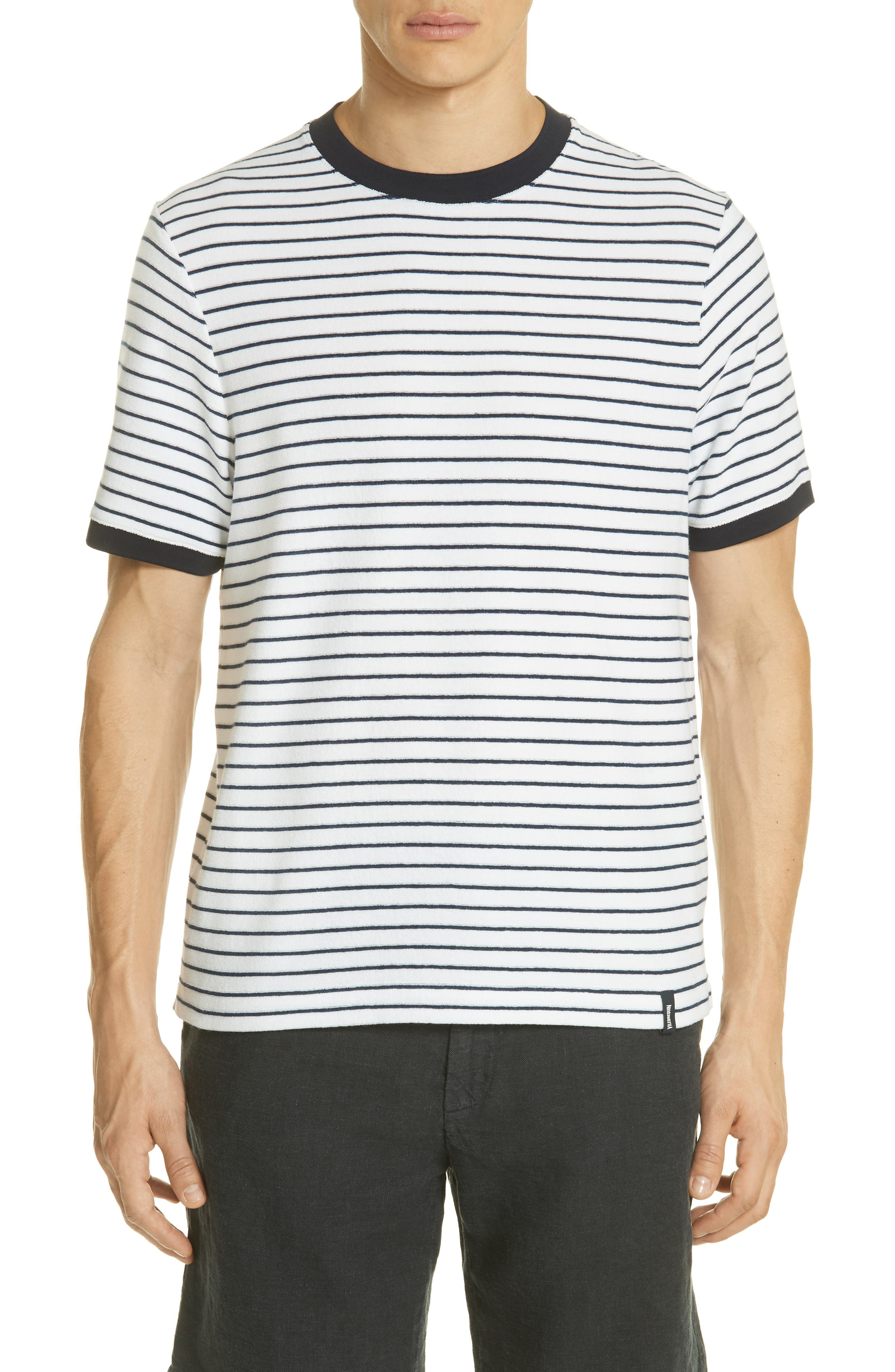 Stripe Terry T-Shirt,                         Main,                         color, Squid Ink / Canvas